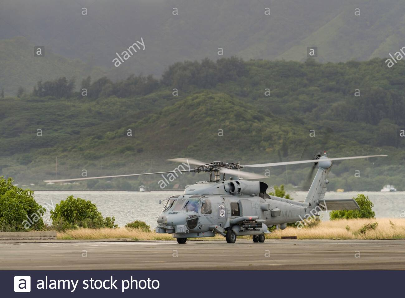 Sikorsky SH-60R Seahawk, Marine Corps Base Hawaii, Kaneohe, Honolulu, Oahu, Hawaii, USA Stock Photo