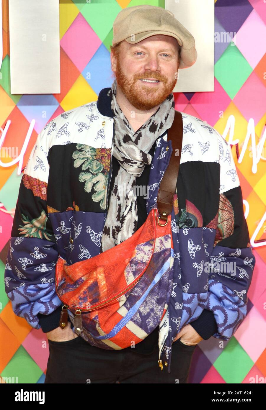 London, UK. 29th Jan, 2020. Leigh Francis at the World Premiere of 'Birds of Prey: And the Fantabulous Emancipation of One Harley Quinn' held at the Odeon BFI IMAX Waterloo Credit: SOPA Images Limited/Alamy Live News Stock Photo