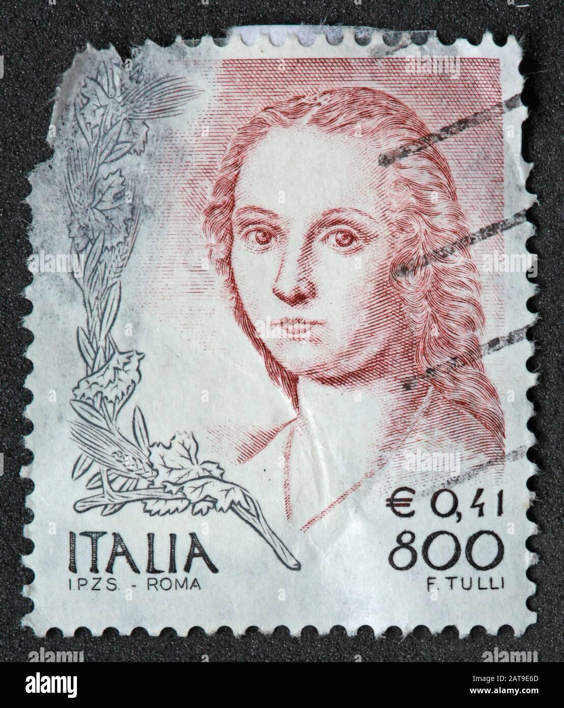 Hotpixuk,@Hotpixuk,GoTonySmith,stamp,postal,franked,frank,used stamps,used franked,used,franked stamp,from envelope,history,historic,old,Italy,Italian,Italia,Italy Stamp,italian stamp,franked Italian stamp,used Italian stamp,Italy stamp,E0.41,800L,f tulli,stamp Italia,4c,800lire,woman,female