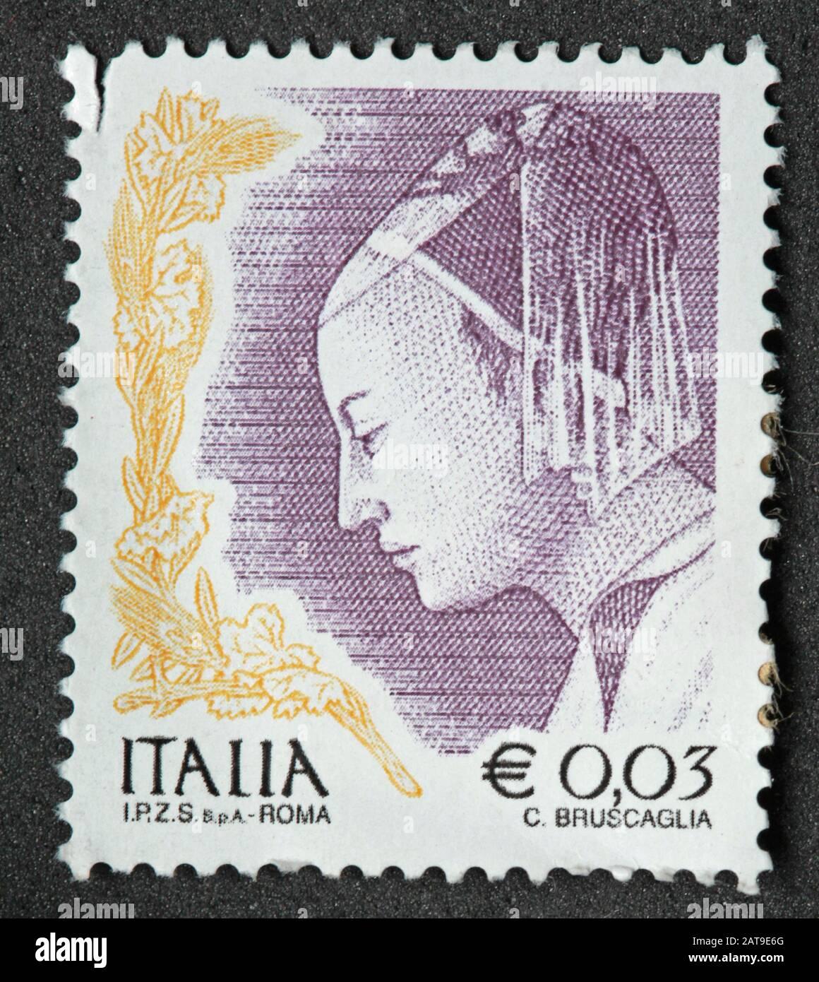 Hotpixuk,@Hotpixuk,GoTonySmith,stamp,postal,franked,frank,used stamps,used franked,used,franked stamp,from envelope,history,historic,old,Italy,Italian,Italia,Italy Stamp,italian stamp,franked Italian stamp,used Italian stamp,Italy stamp,hat,head covering,Italia Roma Stamp,Italia 0.03,3c,3cent,portrait,girl,woman,female