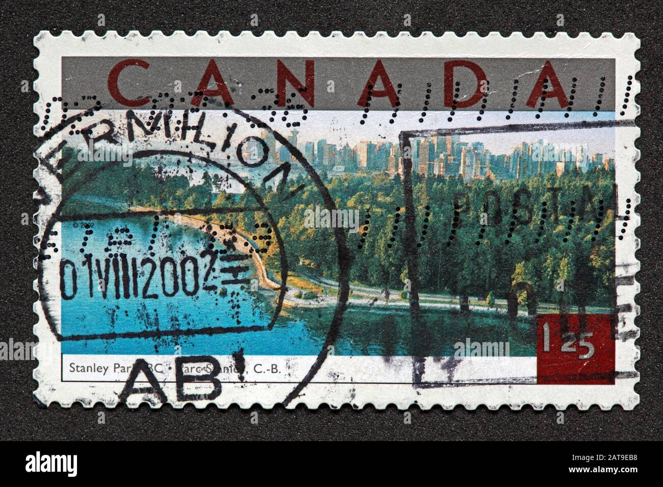 Hotpixuk,@Hotpixuk,GoTonySmith,stamp,postal,franked,frank,used stamps,used franked,used,franked stamp,from envelope,history,historic,old,poste,post office,communications,postage,sending letters,sending,parcels,2002,Canada stamp,$1.25,1.25,Stanley Park,postmark,post,nature,Canadian