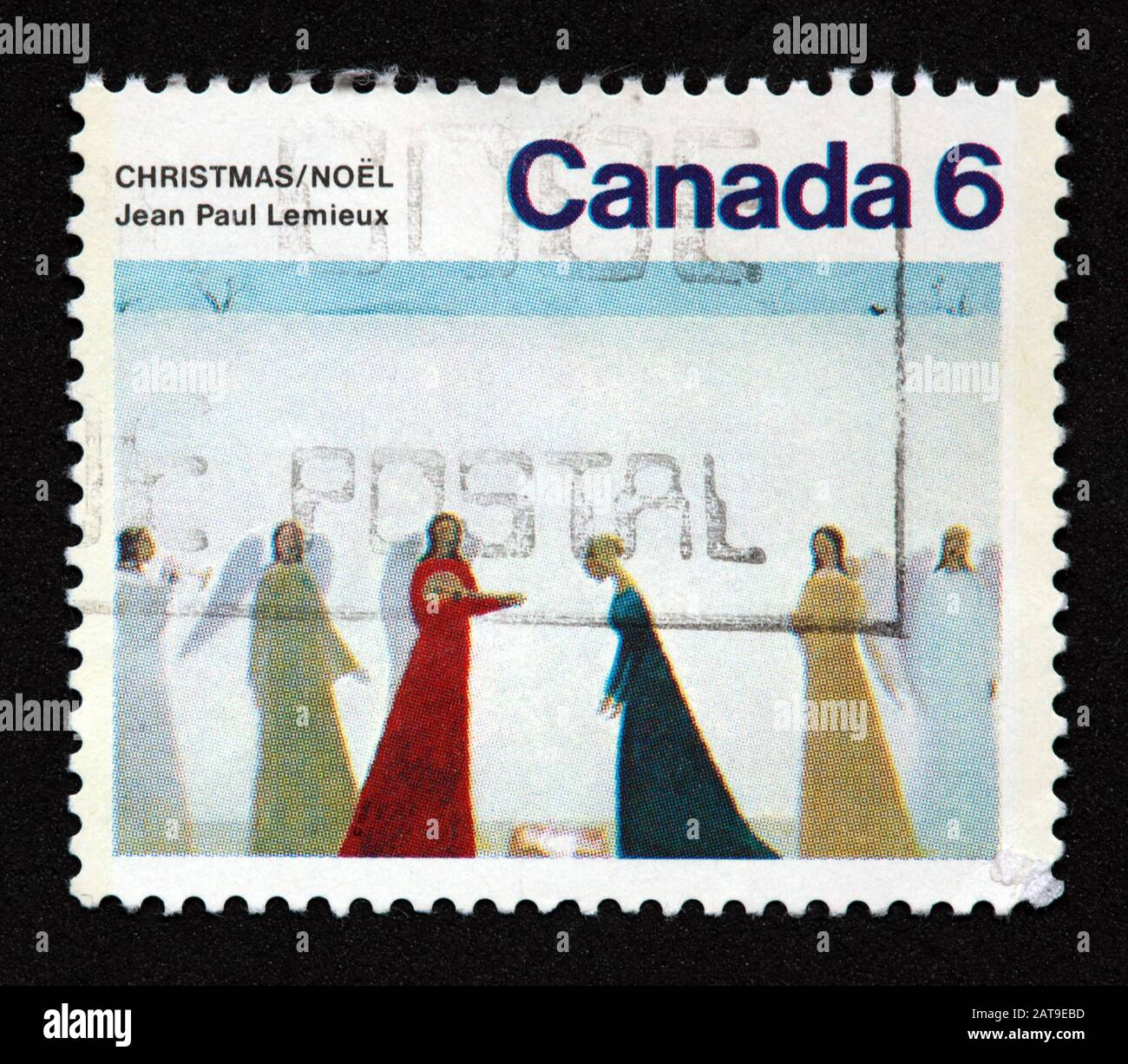 Hotpixuk,@Hotpixuk,GoTonySmith,stamp,postal,franked,frank,used stamps,used franked,used,franked stamp,from envelope,history,historic,old,poste,post office,communications,postage,sending letters,sending,parcels,Canada 6c,6c,6cent,$6,Christmas,Noel,angels,Jean Paul,Lemieux,Canadian