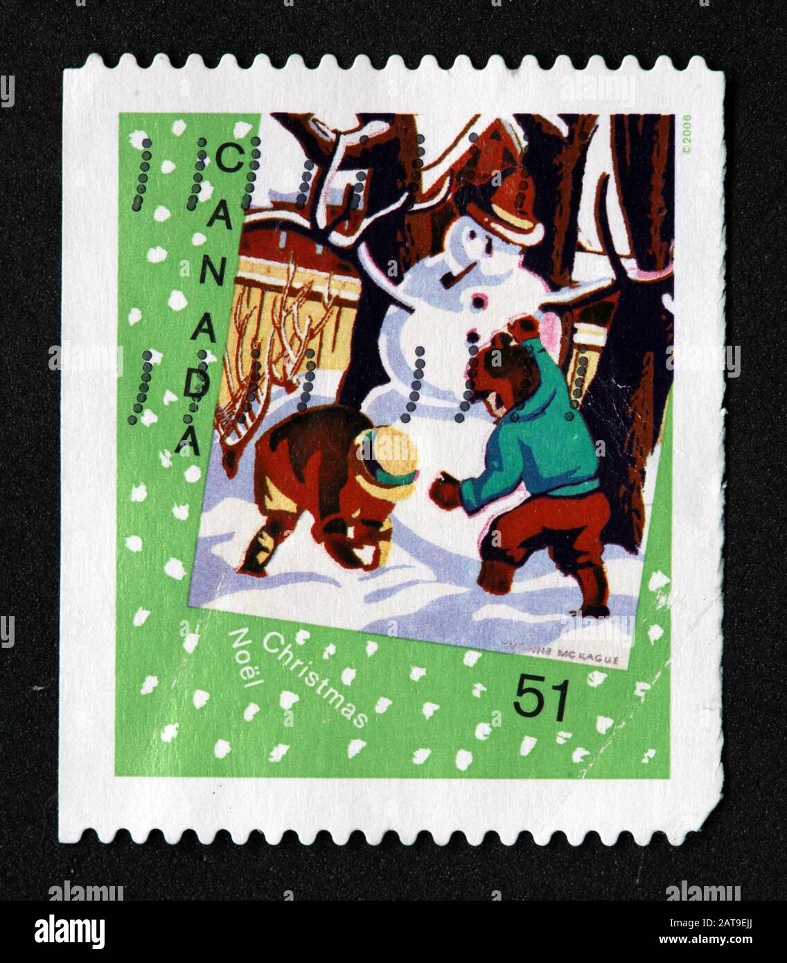 Hotpixuk,@Hotpixuk,GoTonySmith,stamp,postal,franked,frank,used stamps,used franked,used,franked stamp,from envelope,history,historic,old,poste,post office,communications,postage,sending letters,sending,parcels,green,snowman,51c 51cent,Noel,Christmas,Canadian