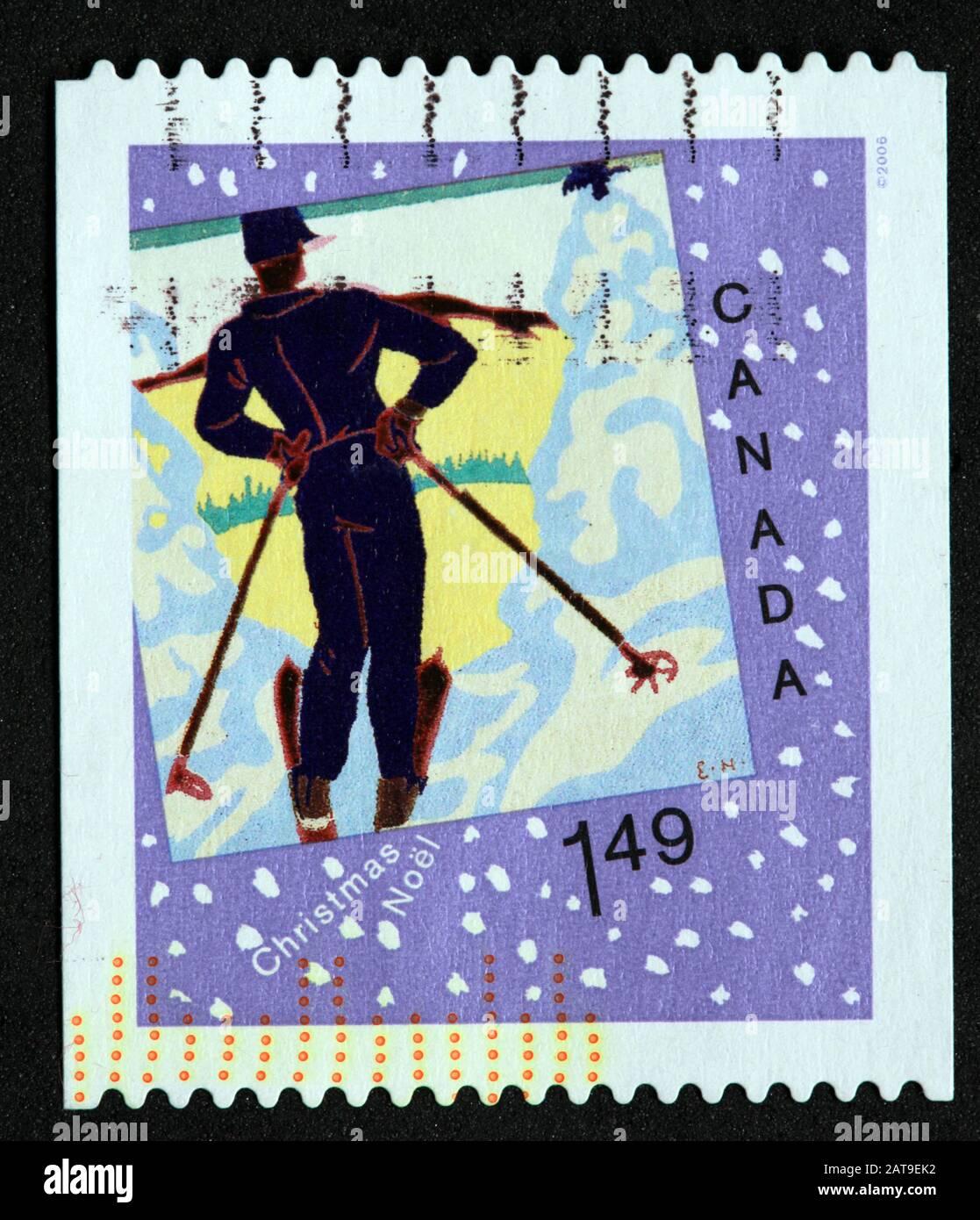 Hotpixuk,@Hotpixuk,GoTonySmith,stamp,postal,franked,frank,used stamps,used franked,used,franked stamp,from envelope,history,historic,old,poste,post office,communications,postage,sending letters,sending,parcels,1.49,$1.49,Christmas,Noel,skier,ski,$1.49 stamp,ski stamp,winter sports,Canadian