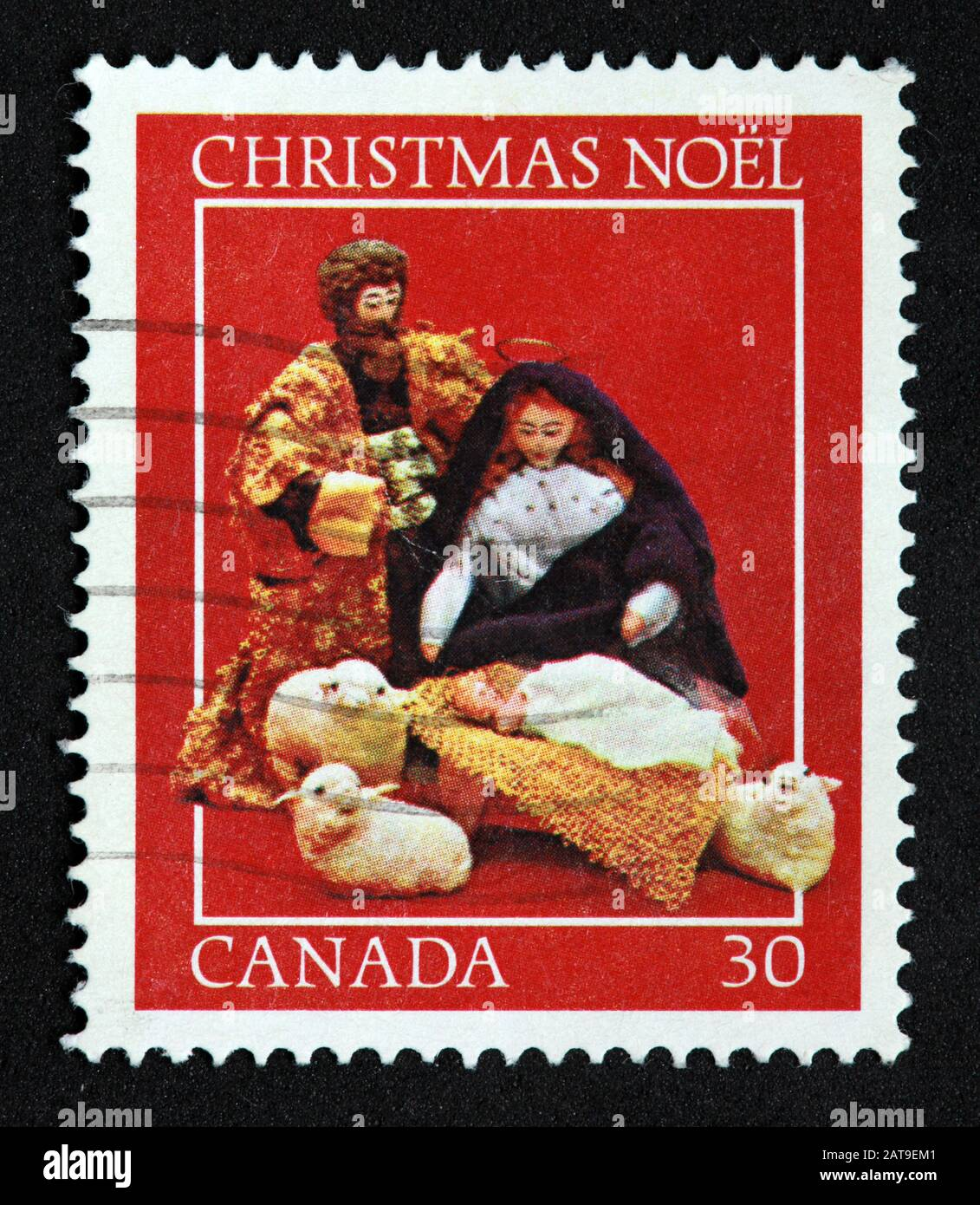 Hotpixuk,@Hotpixuk,GoTonySmith,stamp,postal,franked,frank,used stamps,used franked,used,franked stamp,from envelope,history,historic,old,poste,post office,communications,postage,sending letters,sending,parcels,Christmas Noel,nativity,scene,Canada,30c,30cents,Noel,red,Christmas,Canadian