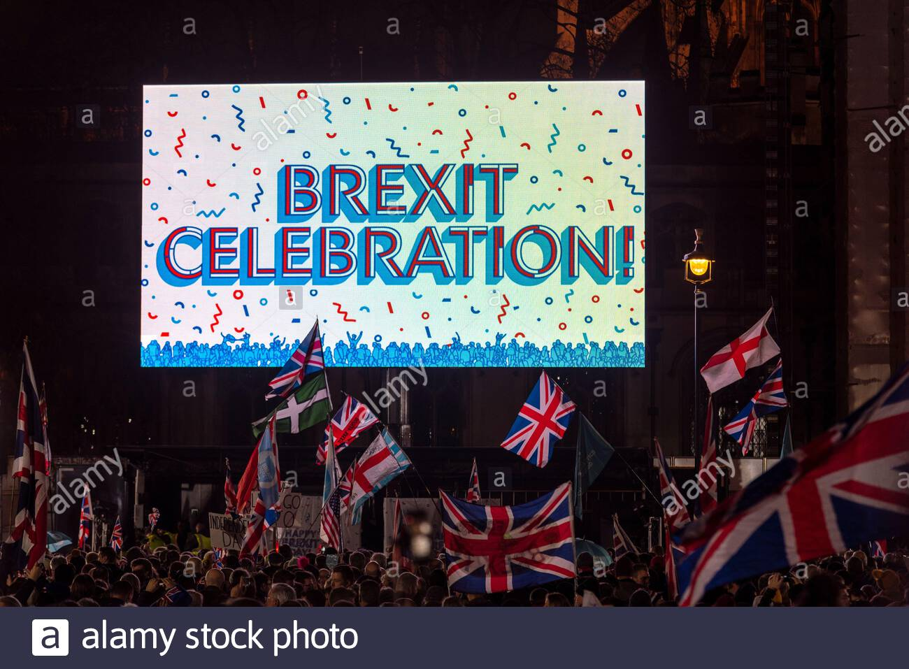 parliament-square-westminster-london-uk-31st-jan-2020-on-the-day-that-the-uk-is-set-to-leave-the-european-union-a-celebration-event-took-place-outside-parliament-led-by-leave-means-leave-beginning-at-9pm-the-party-welcomed-in-the-official-withdrawal-time-set-at-11pm-a-large-video-screen-ran-pieces-from-the-history-of-brexit-with-no-bongs-from-big-ben-in-the-elizabeth-tower-of-the-palace-of-westminster-available-a-recording-was-played-credit-avpicsalamy-live-news-2AT9PTN.jpg