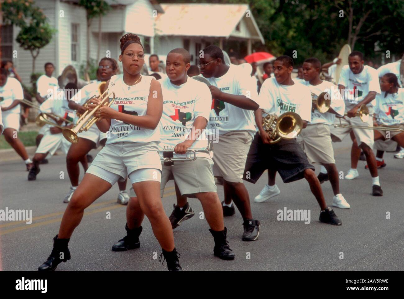 Members of the Jack Yates High School marching band perform at the annual Juneteenth celebration in Austin commemorating black emancipation in Texas.line Stock Photo
