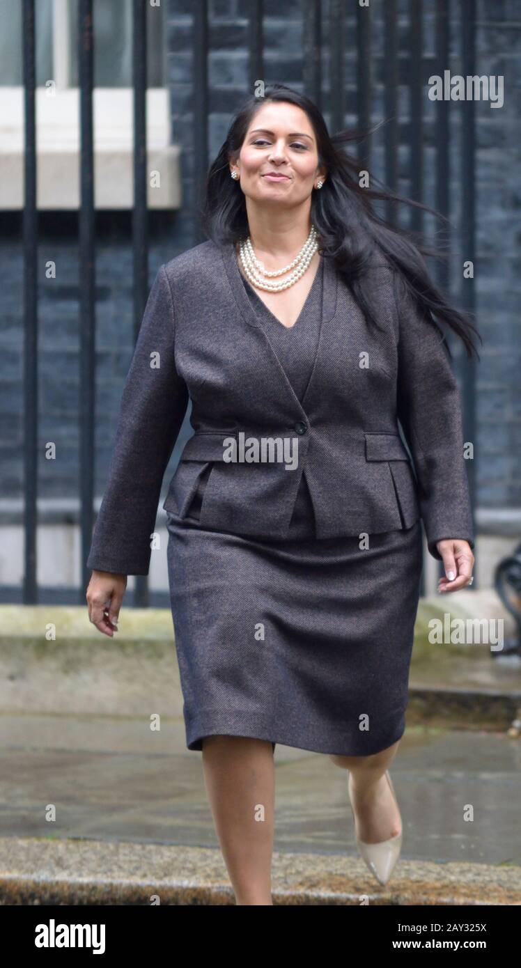 Priti Patel MP in Downing Street on the day she retained her job as Home Secretary during a cabinet reshuffle, 13th Feb 2020 Stock Photo