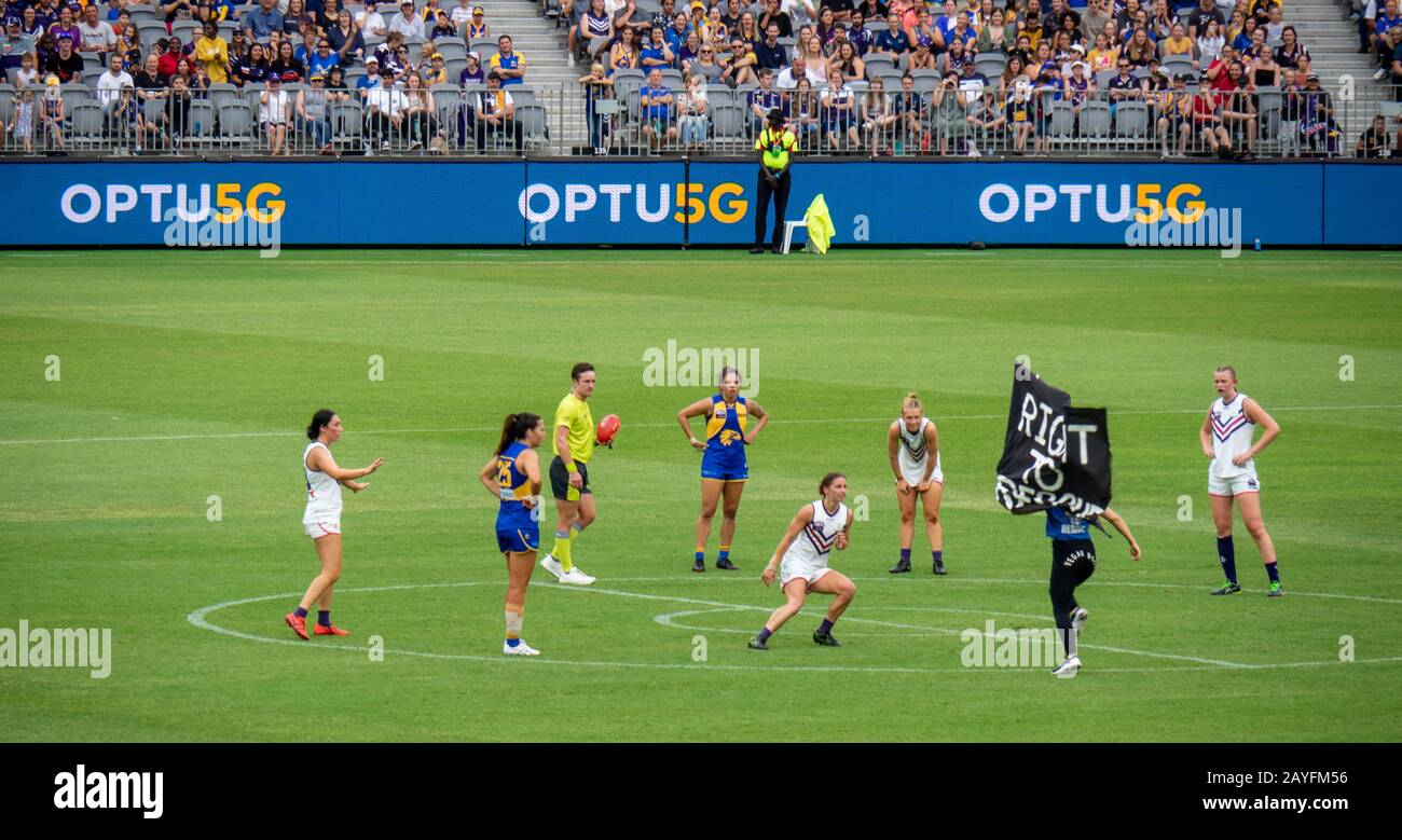 right-to-rescue-protester-at-2020-aflw-west-coast-eagles-and-fremantle-dockers-derby-game-at-optus-stadium-burswood-perth-wa-australia-2AYFM56.jpg