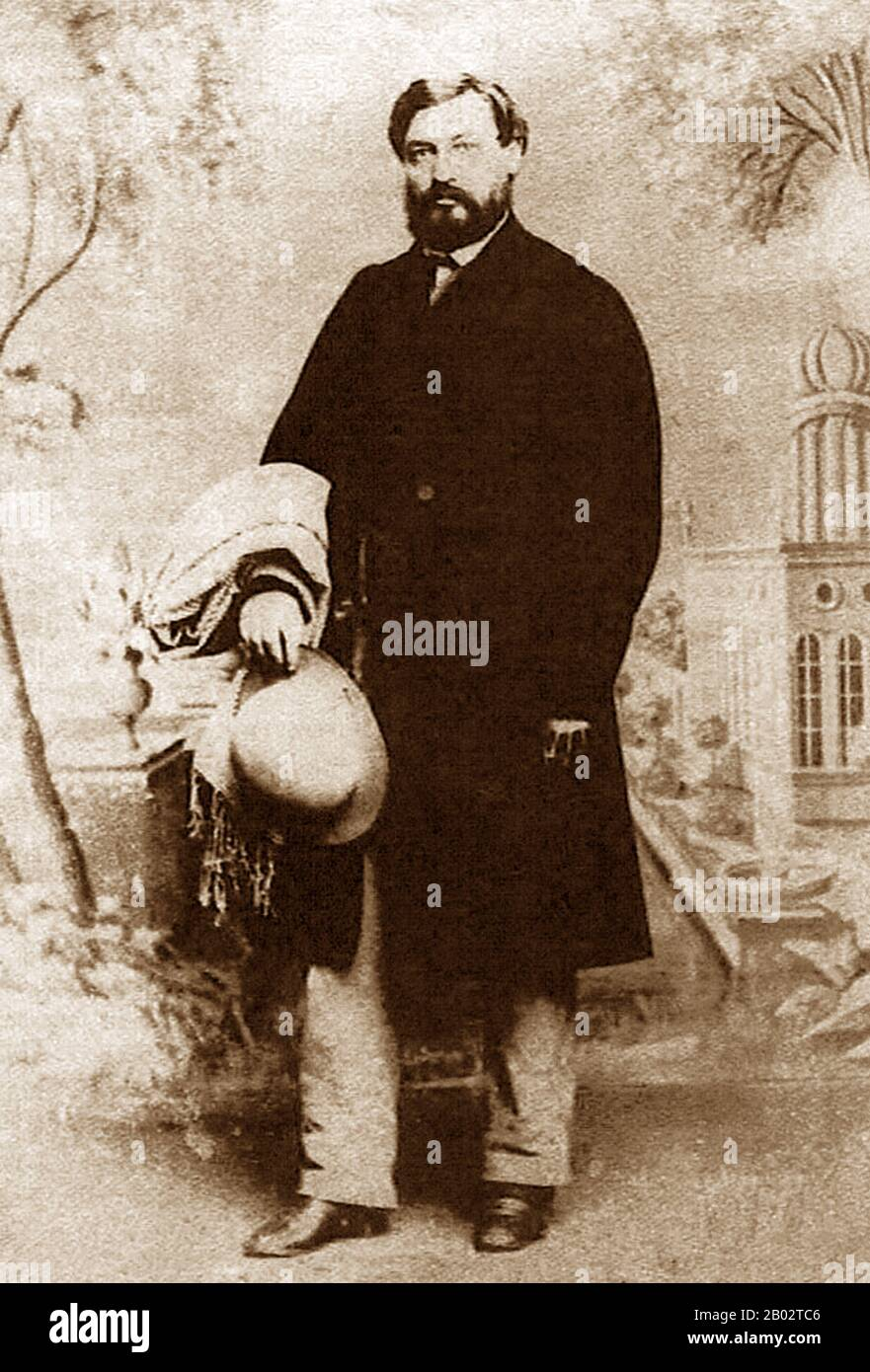 Moses Wilhelm Shapira was born in 1830 to Polish-Jewish parents in Kamenets-Podolski, which at the time was part of Russian-annexed Poland (in modern-day Ukraine). Shapira's father emigrated to Ottoman Palestine and in 1856, at the age of 25, Moses Shapira followed.  On the way, while in Bucharest, Moses Shapira converted to Christianity and applied for German citizenship. Once in Jerusalem, he joined the community of Anglican missionaries and converts and in 1861 opened a store in the Street of the Christians, today's Christian Quarter Road. He sold the usual religious souvenirs enjoyed by pi Stock Photo