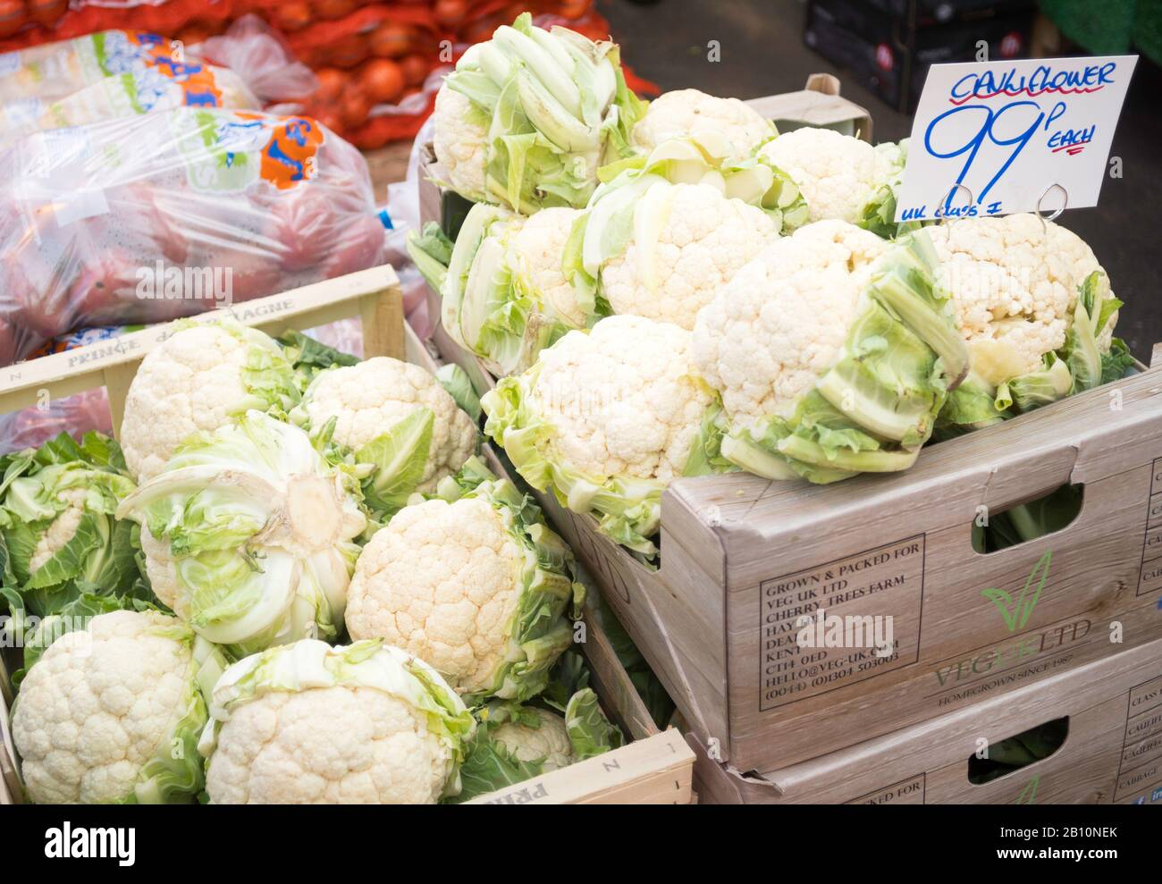 Cauliflowers for sale in a market, England, UK Stock Photo