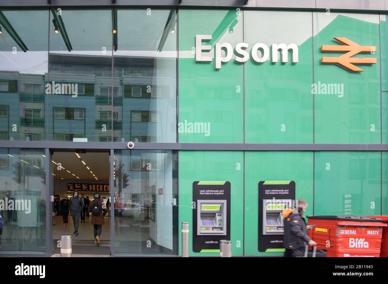 the entrance to epsom railway station surrey Stock Photo