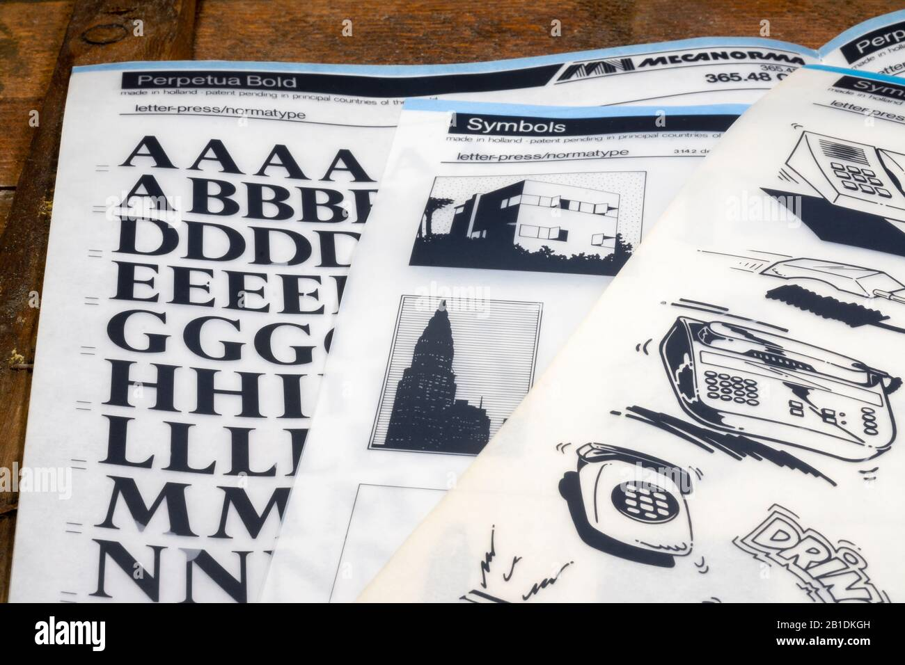 Old Mecanorma transfer letters and symbols Stock Photo