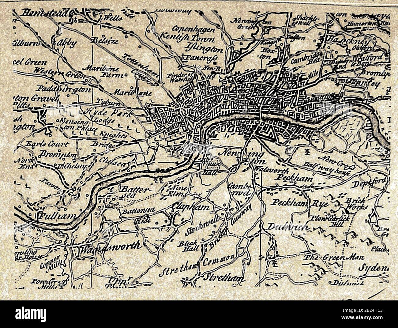 A map of the city of  London (UK) , villages, inns, surrounds etc  in the 1700's, with spellings at that time Stock Photo
