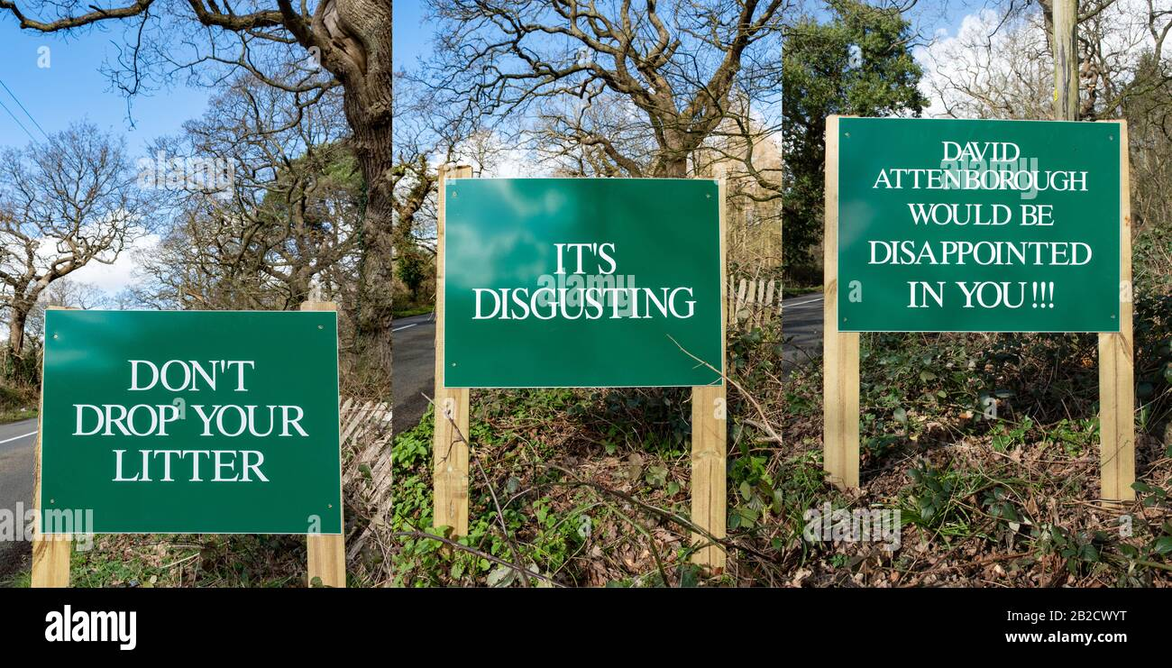 three-roadside-signs-saying-dont-drop-your-litter-its-disgusting-david-attenborough-would-be-disappointed-in-you-in-the-countryside-uk-2B2CWYT.jpg