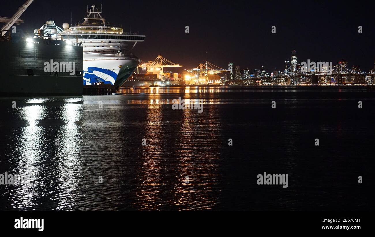 Oakland, USA. 9th Mar, 2020. Grand Princess cruise ship disembarks at the Port of Oakland after 19 crew members and 2 passengers tested positive for Covid-19 also known as Coronavirus. One person on the cruise died from the virus. Credit: Kristin Cato/Alamy Live News Stock Photo