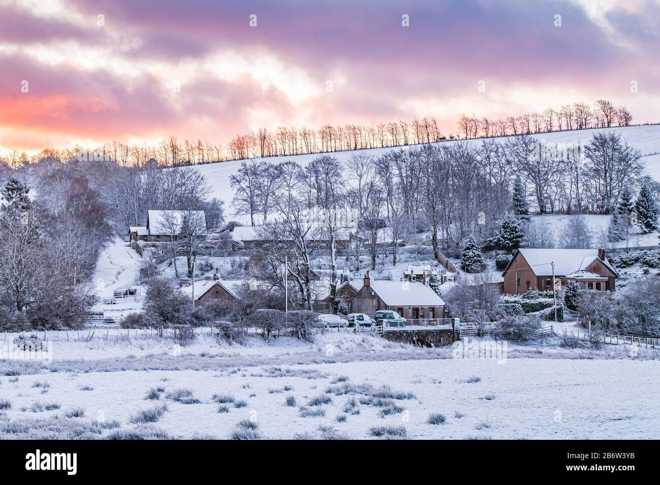 Earlston, Scottish Borders, UK. 12th March 2020. Heavy snow fell overnight in the Scottish Borders making the morning commute a bit more challenging. Credit: Chris Strickland / Alamy Live News Stock Photo