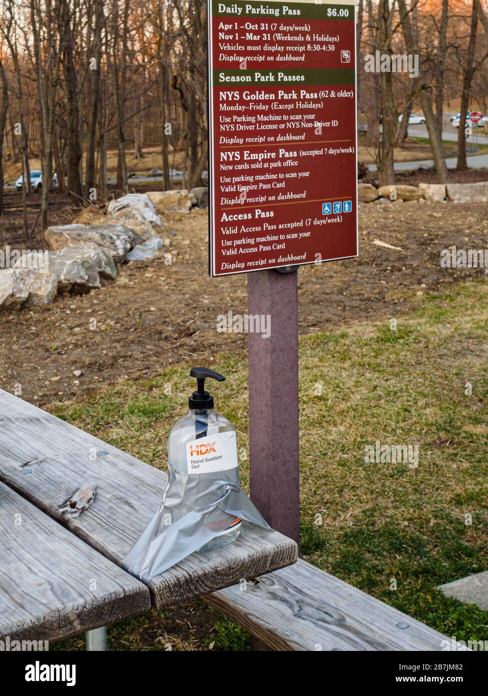 westchester-county-new-york-15-march-2020-a-bottle-of-hand-sanitizer-is-secured-by-duck-tape-in-the-parking-lot-of-rockefeller-state-park-preserve-for-hikers-westchester-county-currently-has-the-highest-incidence-of-coronavirus-in-the-state-due-to-shortages-there-have-been-reports-of-people-stealing-hand-sanitizer-from-offices-and-other-public-spaces-2B7JM82.jpg