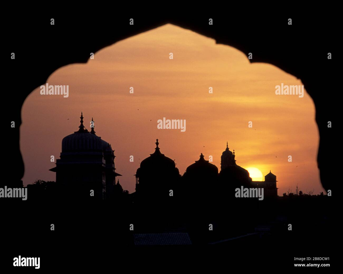 Incredible view of Orchha temples at sunset from Sheesh Mahal Palace Orchha Madhya Pradesh India Stock Photo
