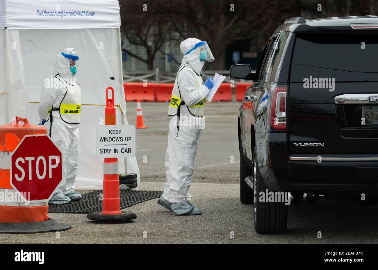 Massachusetts, USA. 28th Mar, 2020. COVID-19 drive-thru testing, Boston, Massachusetts, USA.  28 March 2020. Credit: Chuck Nacke/Alamy Live News Stock Photo