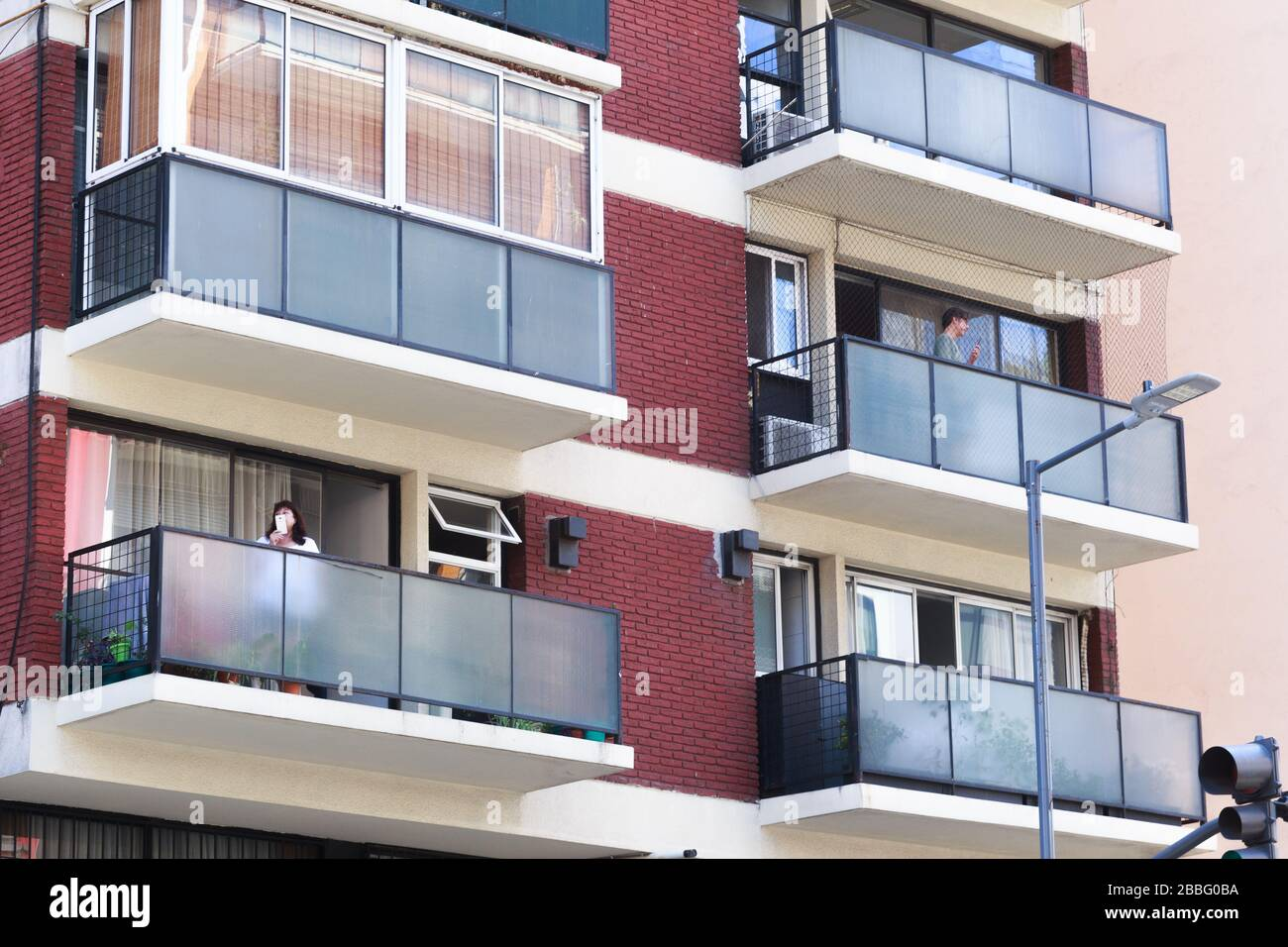 Buenos Aires neighbors during social isolation Stock Photo