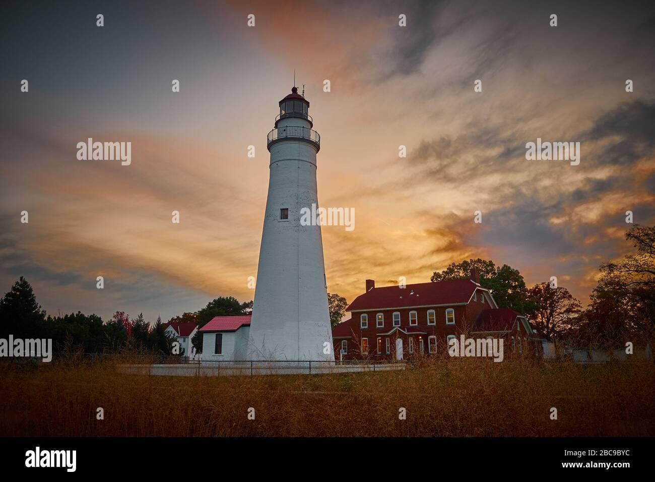Sunset Photo of Fort Gratiot light house in Port Huron Michigan Stock Photo