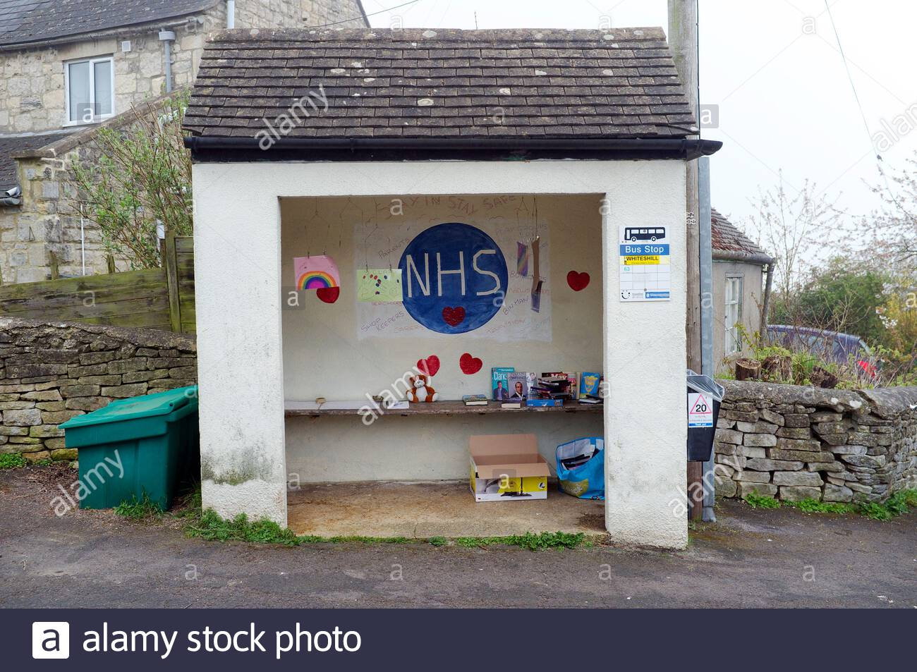 Covid 19 coronavirus - bus stop mural in praise of the National Health Service (NHS) and other key workers, in Stroud, Gloucestershire, UK. 4th April Stock Photo