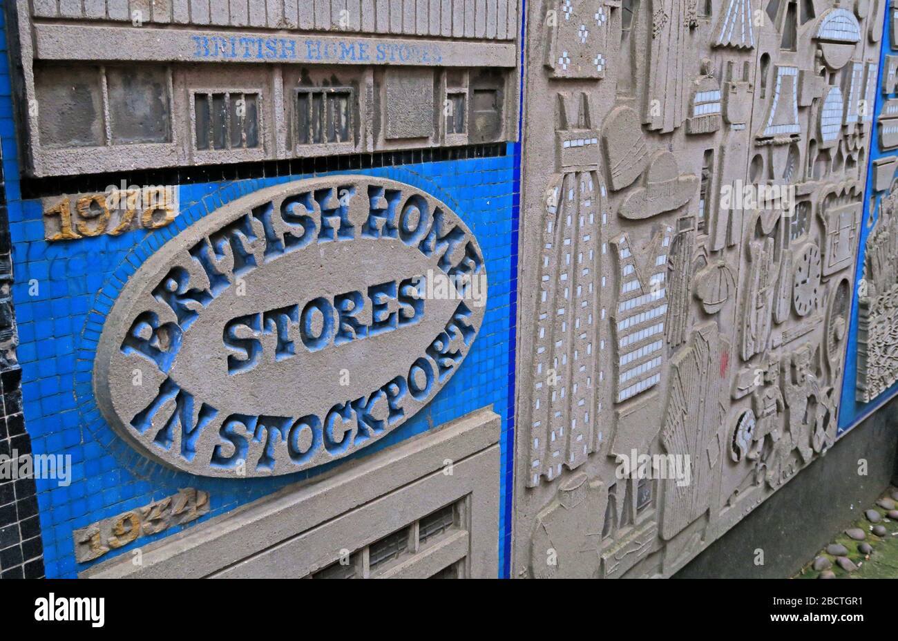 HotpixUK,@HotpixUk,GoTonySmith,Greater Manchester,Manchester,Cheshire,England,UK,town,British Home Stores,1934,wall,artwork,retail,failure,lost,retail names,company,companies,blue,yellow,Stockport Town Centre,SK1 1PD,art,icon,iconic,Arcadia Group,Al Mana Group,Retail Acquisitions,BritishHomeStore London 1928,Philip Green,Storehouse Plc,disaster