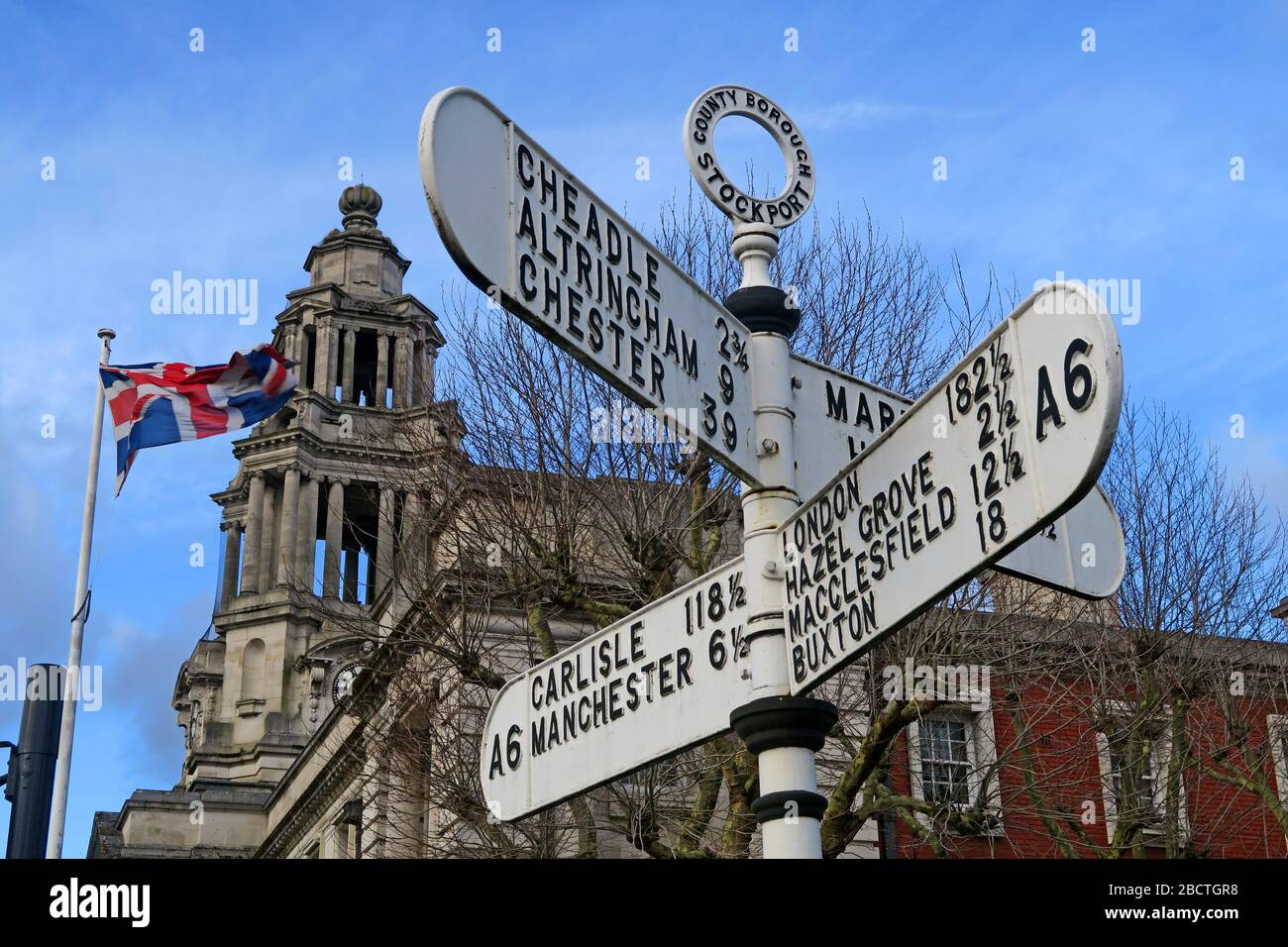 HotpixUK,@HotpixUk,GoTonySmith,Greater Manchester,Manchester,Cheshire,England,UK,town,posts,Stockport A6 fingerposts,Cheadle,Chester,London,Buxton,Macclesfield,Carlisle,English,white,black,flag,British,town hall,A6 sign,A6 Signpost