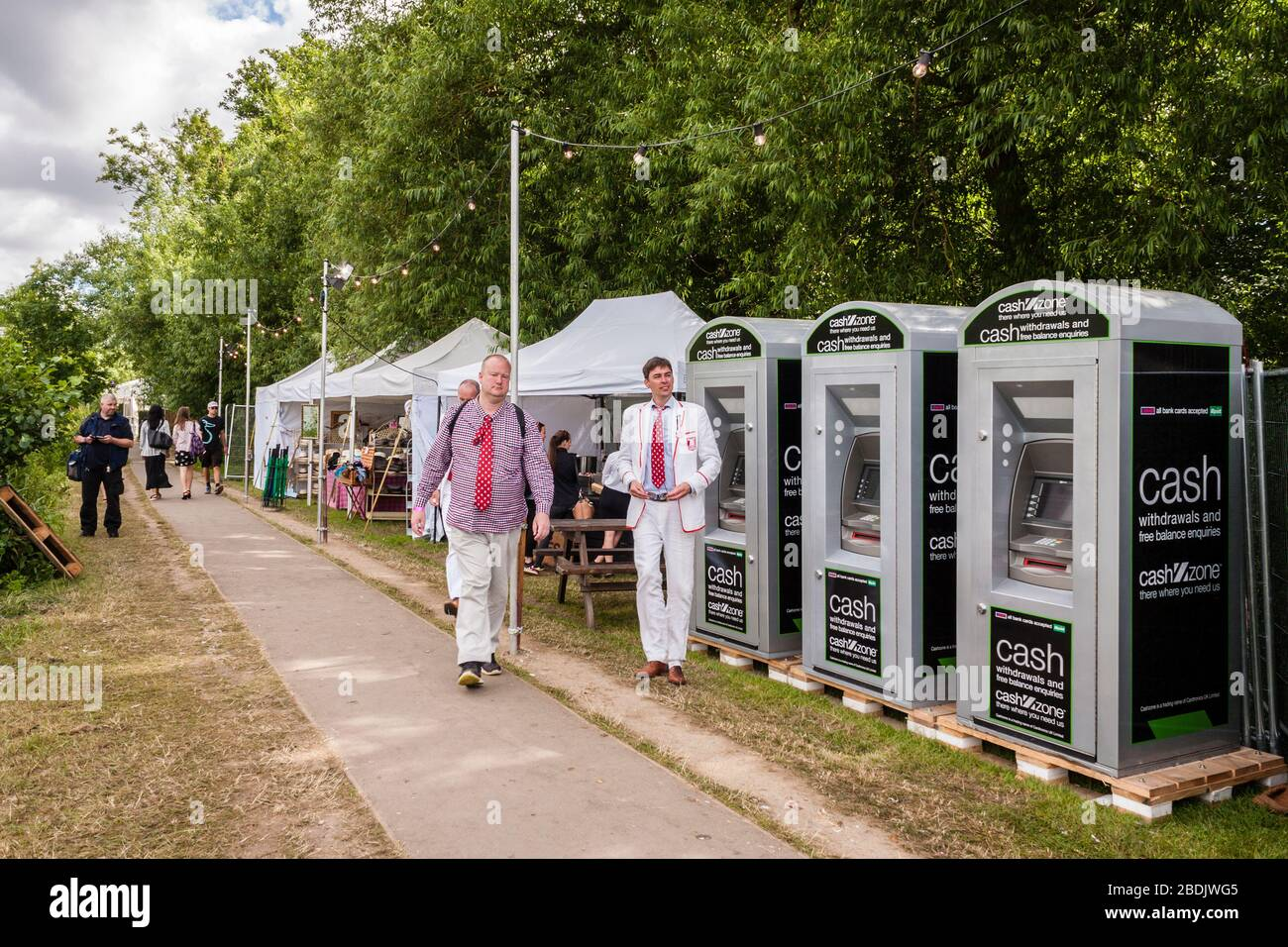 ATM cash dispensers on the towpath at Henley Royal Regatta Stock Photo