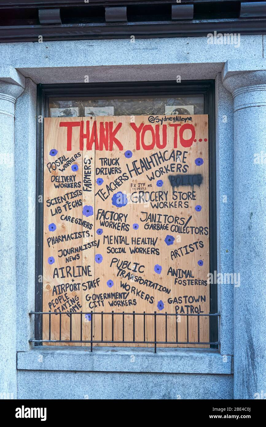 vancouver-canada-10-april-2020-a-hand-painted-sign-on-the-boarded-up-window-of-a-shop-in-gastown-thanks-workers-government-leaders-and-public-servants-during-the-covd-19-pandemic-2BE4C0J.jpg