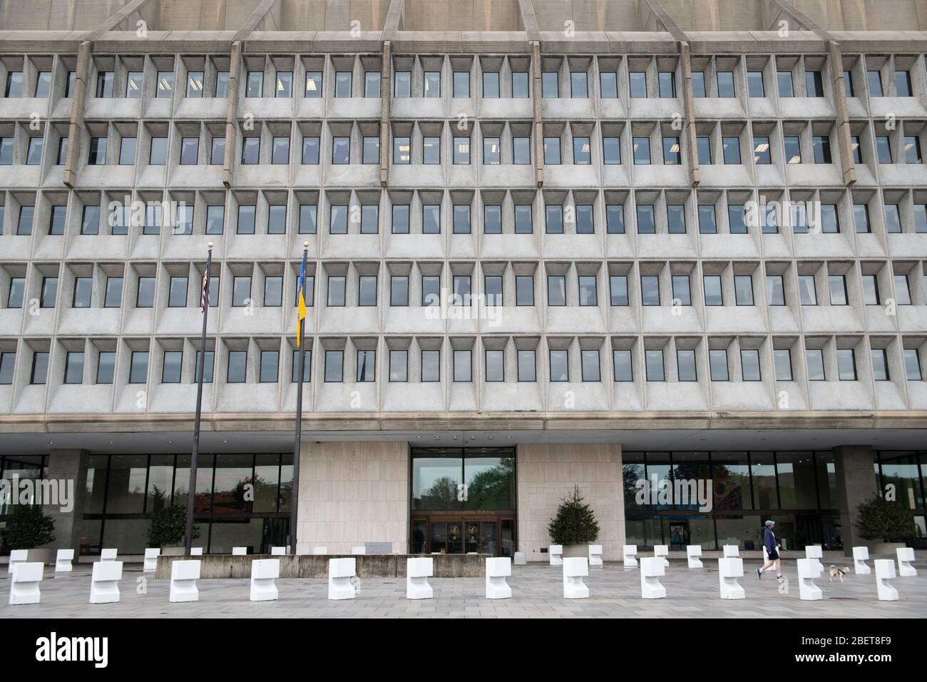 Washington, USA. 15th Apr, 2020. A general view of the Department of Health and Human Services (HHS) in Washington, DC on Wednesday, April 15, 2020 amid the Coronavirus pandemic. Today, confirmed COVID-19 cases surpassed 2 million globally, while on Tuesday President Trump ordered his administration to halt funding to the World Health Organization (WHO), which he blames for mismanaging and covering up the outbreak in its early months. (Graeme Sloan/Sipa USA) Credit: Sipa USA/Alamy Live News Stock Photo