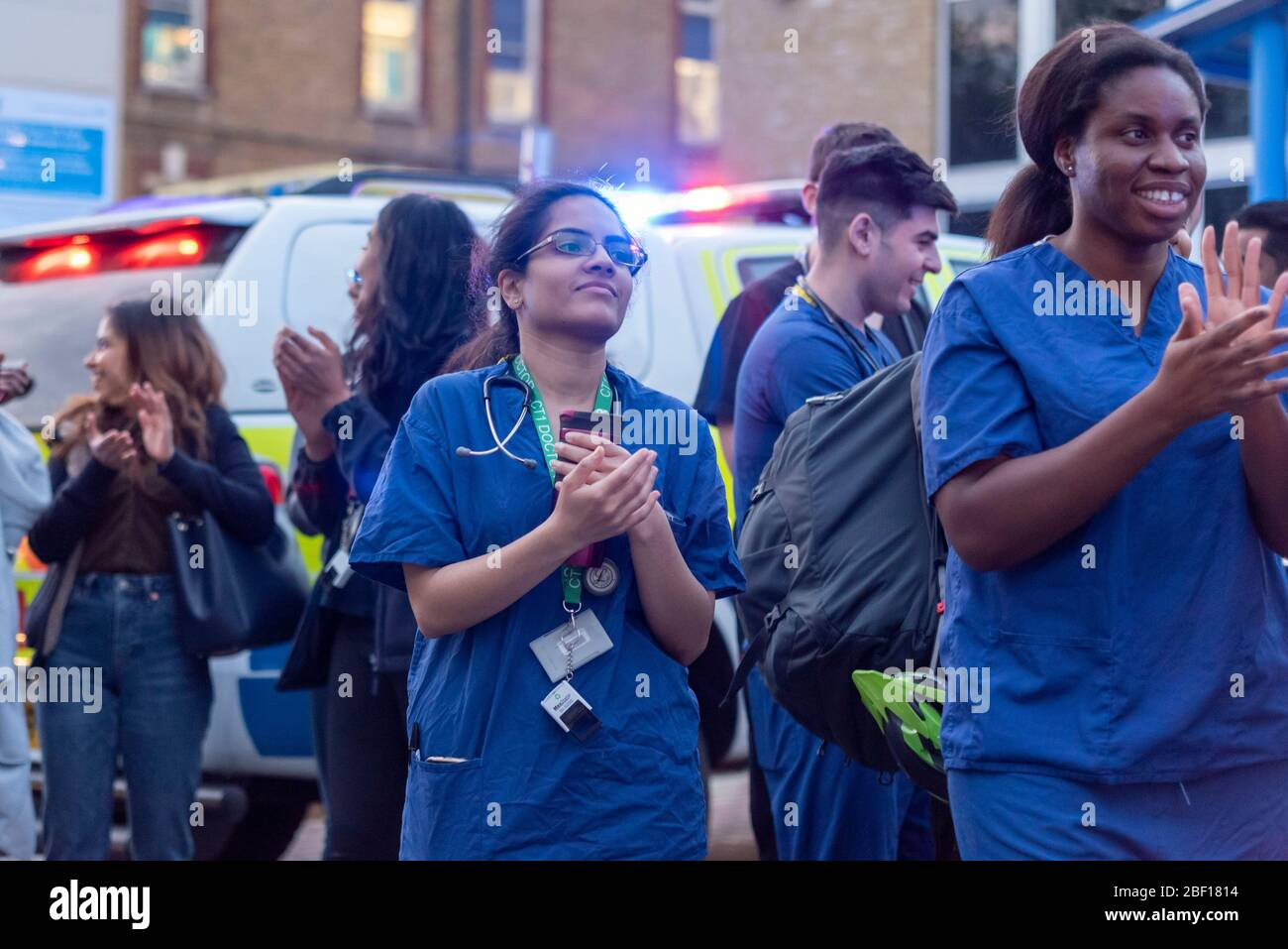 southend-university-hospital-southend-on-sea-essex-uk-16th-apr-2020-police-fire-breakdown-crews-and-health-services-gathered-outside-of-the-entrance-to-southend-hospital-to-join-in-with-the-clap-for-carers-now-regularly-being-held-at-8pm-every-thursday-evening-in-the-uk-to-thank-nhs-and-key-workers-during-the-covid-19-coronavirus-pandemic-nhs-staff-gathered-outside-to-receive-and-join-in-with-the-applause-2BF1814.jpg