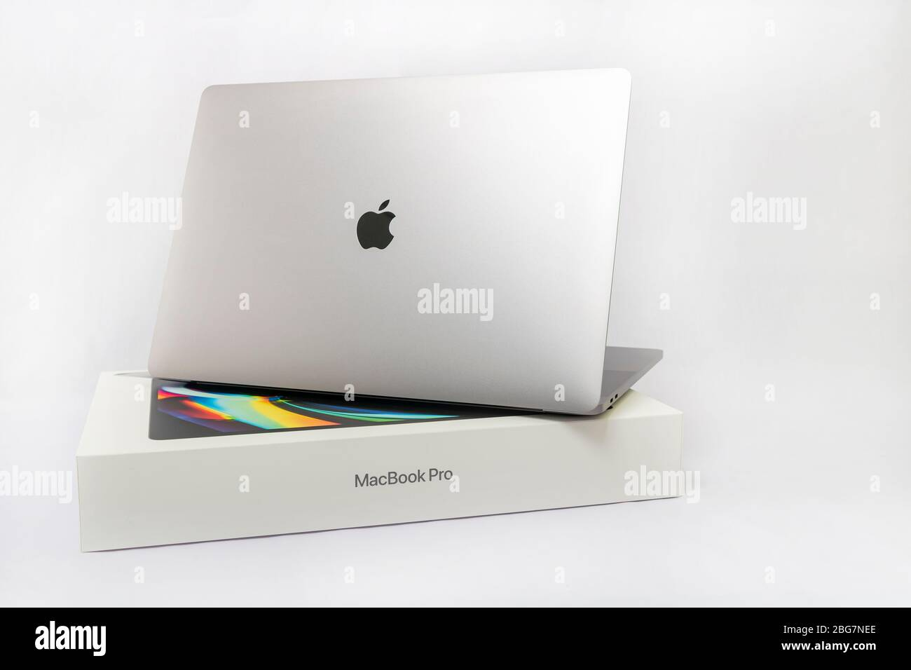 Bangkok, Thailand - April 5, 2020: A white box and 2020 Apple MacBook Pro 16 inch super retina display which is produced by Apple company. Stock Photo
