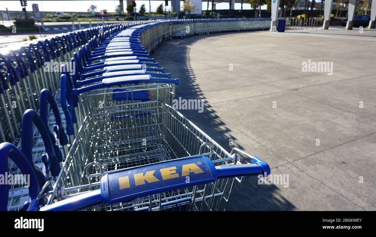 IKEA parked shopping carts during the coronavirus COVID-19 shelter-in-place order, a closed nonessential business. Emeryville, California. Stock Photo