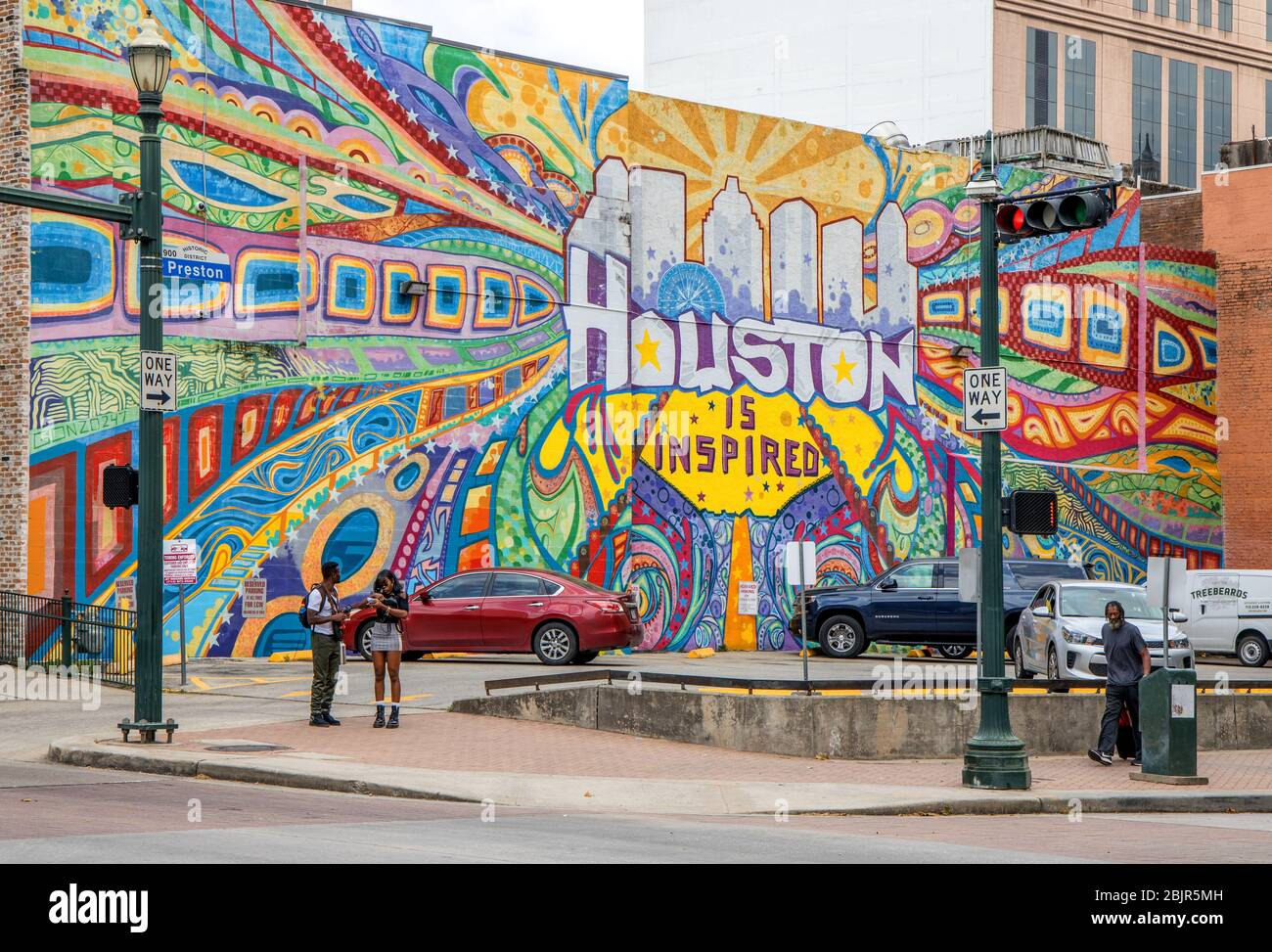 houston is inspiring street art in downtown houston texas Stock Photo