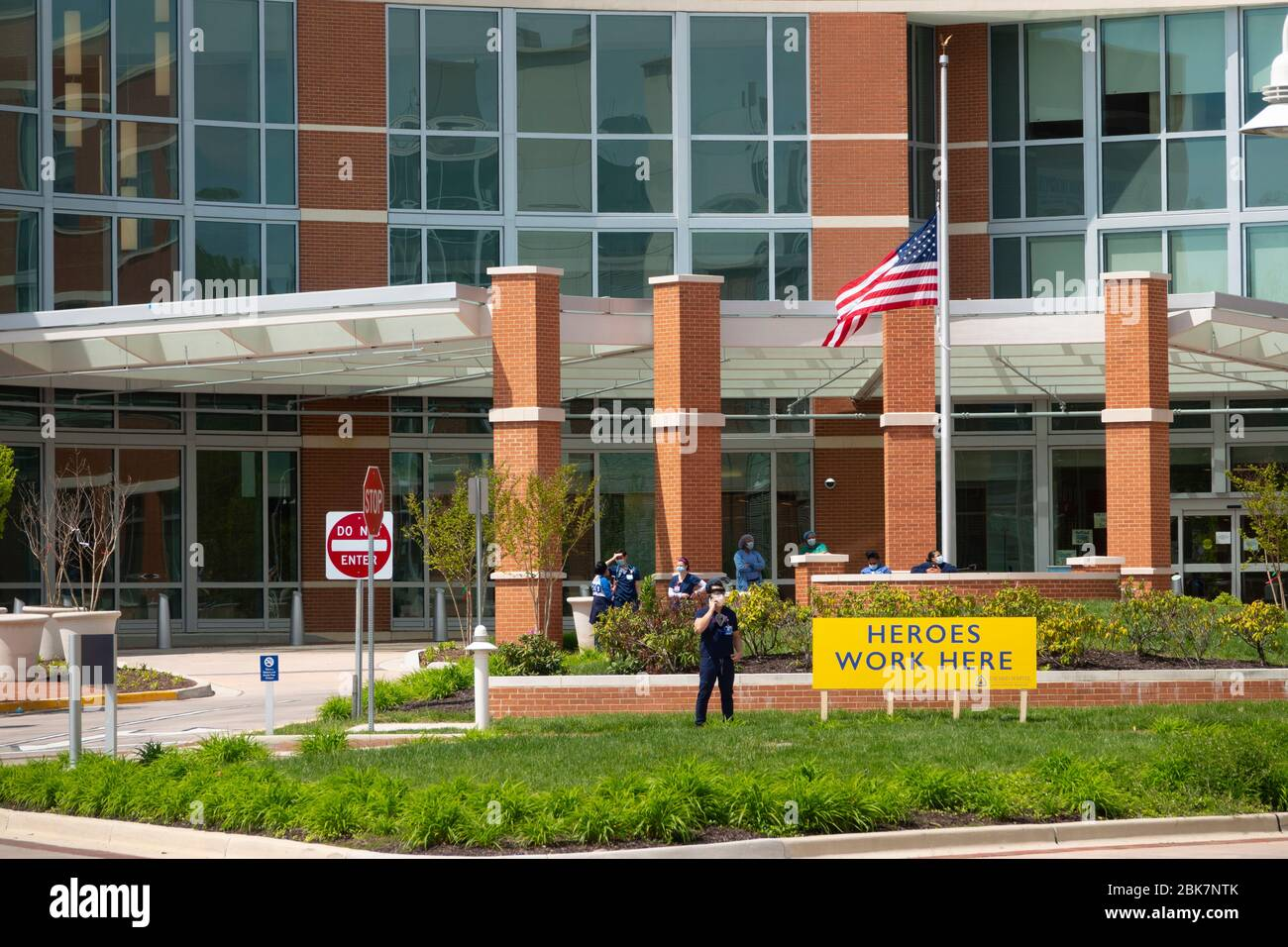 USA Bethesda Maryland MD Suburban Hospital during the Corona Pandemic Stock Photo