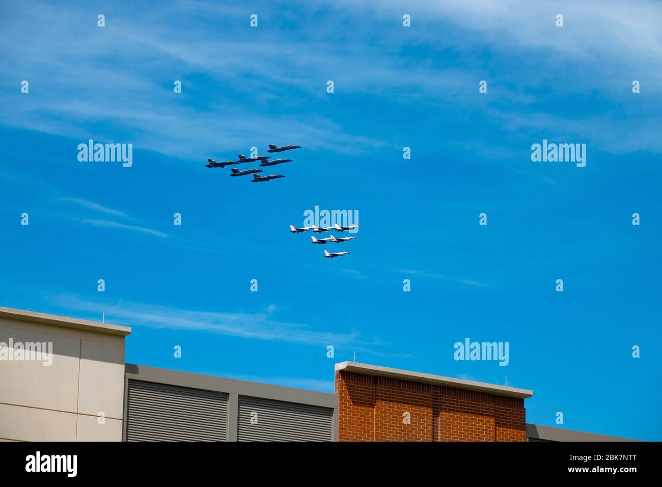 USA Bethesda Maryland MD Navy and Air Force flyover Suburban Hospital Blue Angels and Thunderbirds Stock Photo