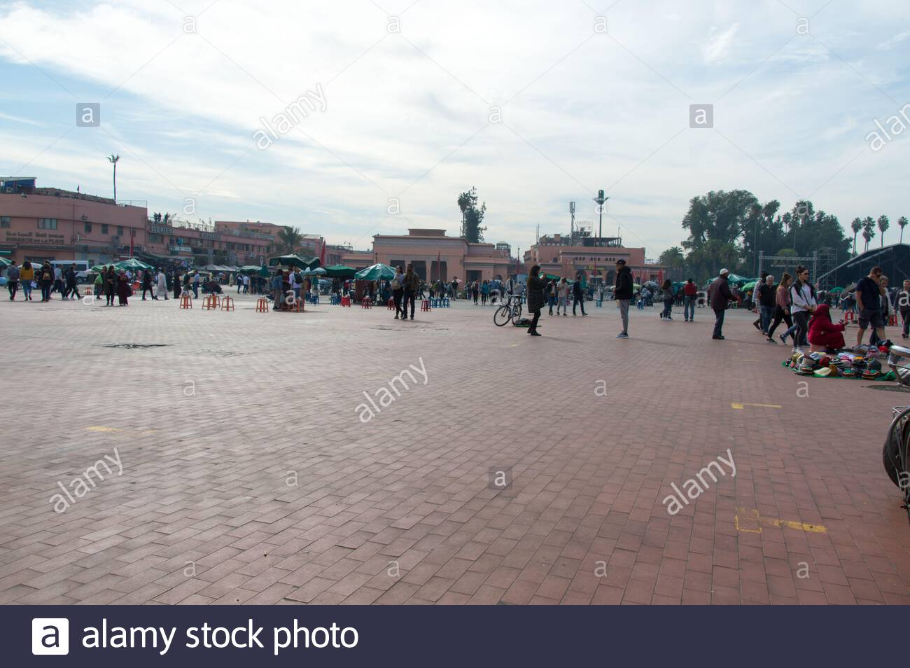 UNESCO site Marrakesh market wide open with no stalls during daytime Stock Photo