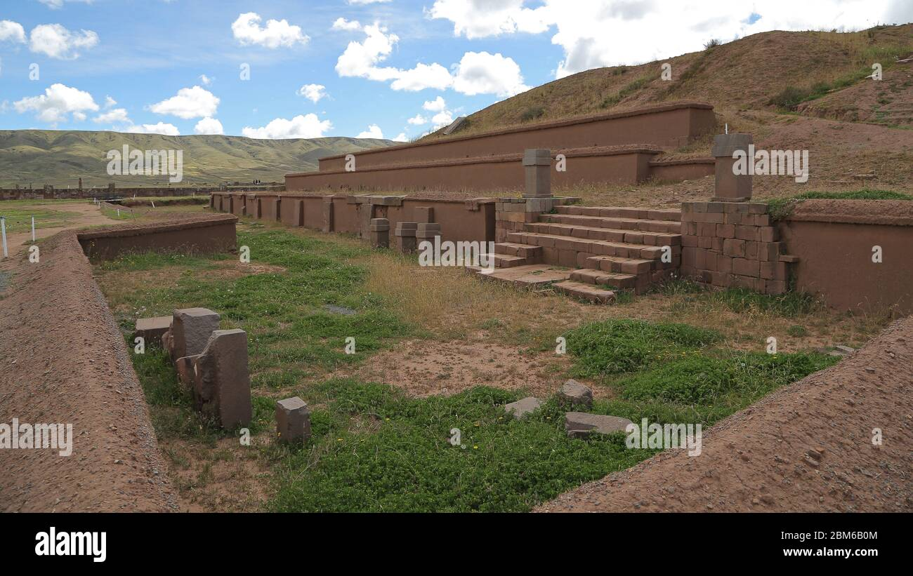 Akapana pyramid in Tiahuanaco o Tiwanaku Stock Photo