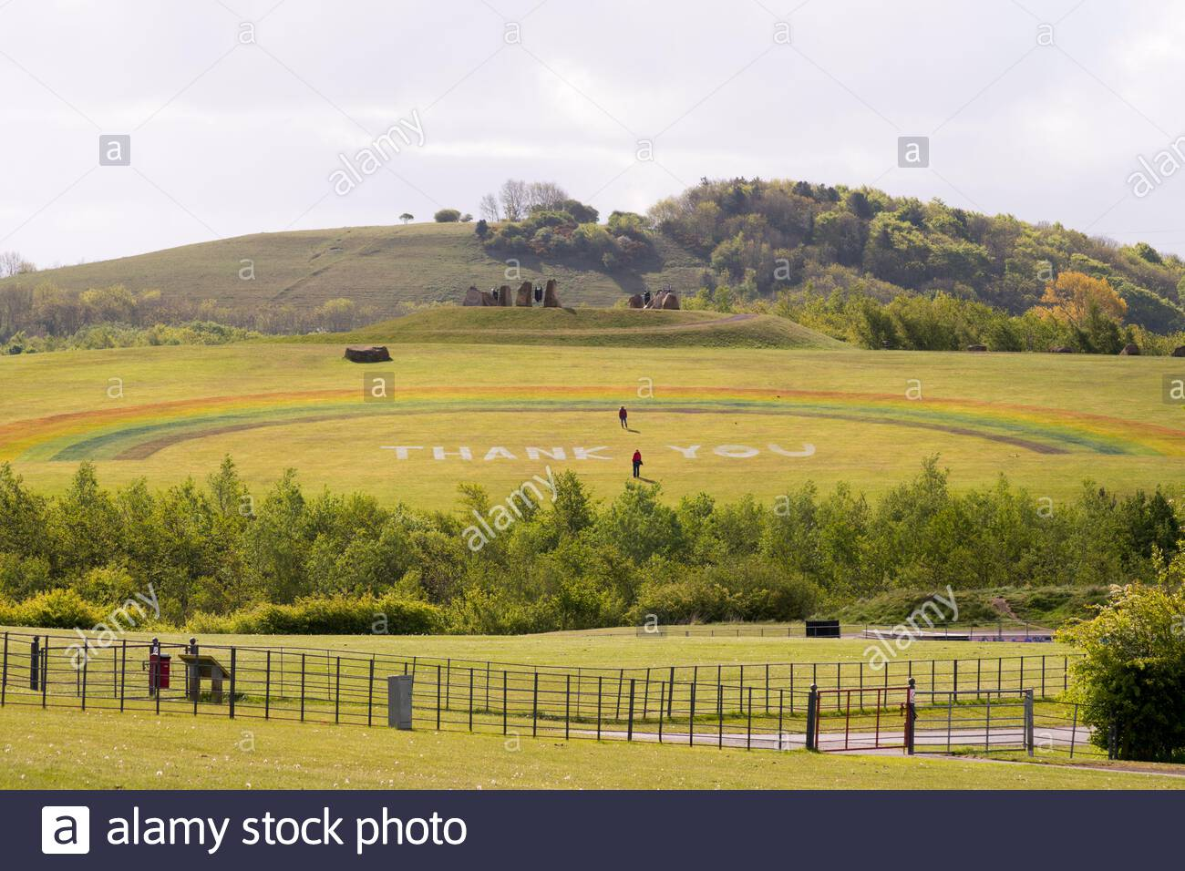 The NHS rainbow showing solidarity with NHS workers, on a hillside in Herrington Country Park, Sunderland, England, UK Stock Photo