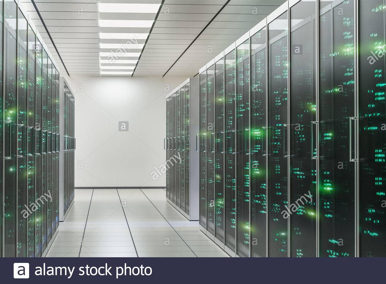 CGI of computer server room Stock Photo