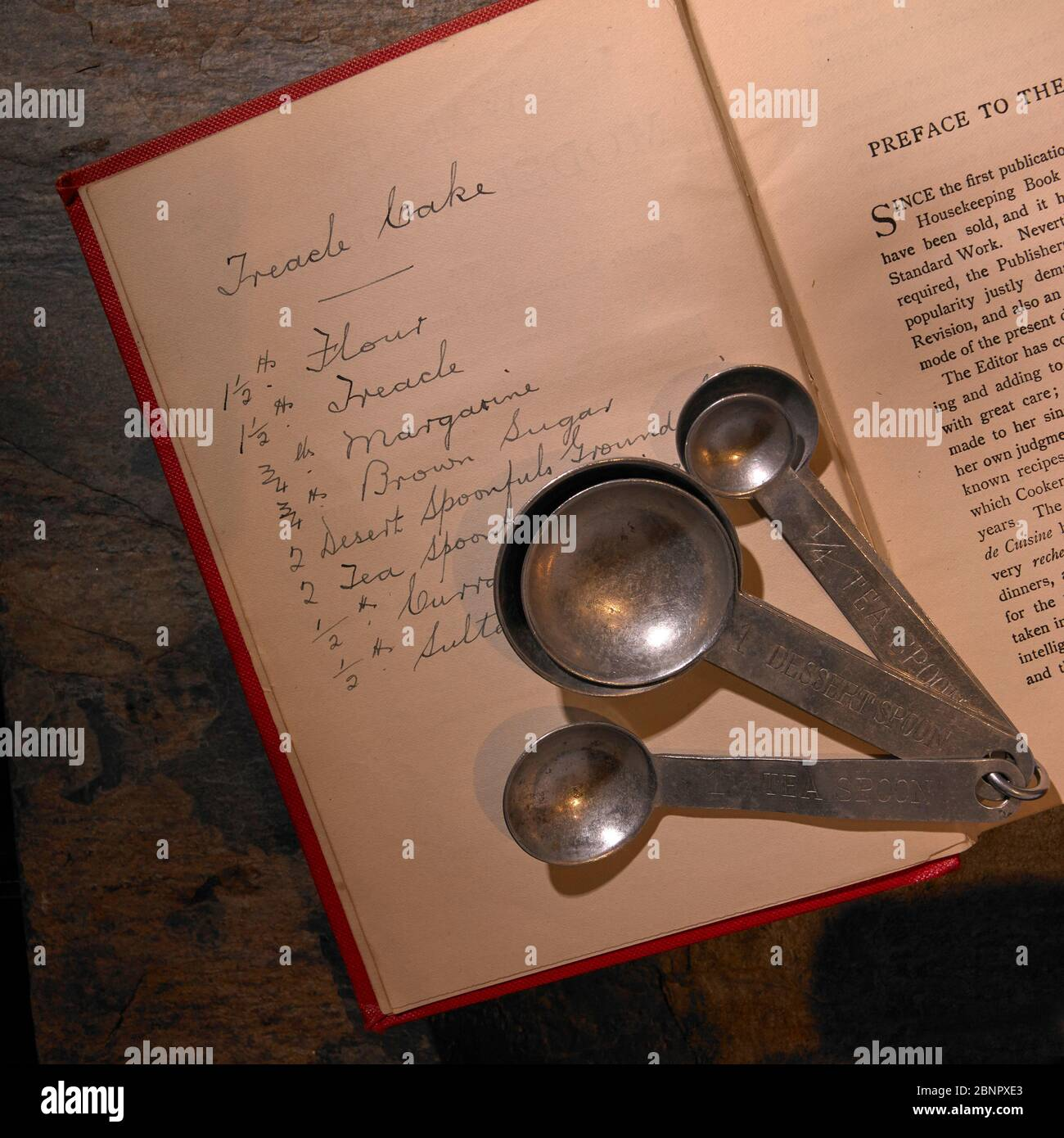 imperial-measure-spoons-lying-on-front-page-of-19th-early-20th-century-recipe-book-with-handwritten-treacle-cake-recipe-complete-with-measures-2BNPXE3.jpg