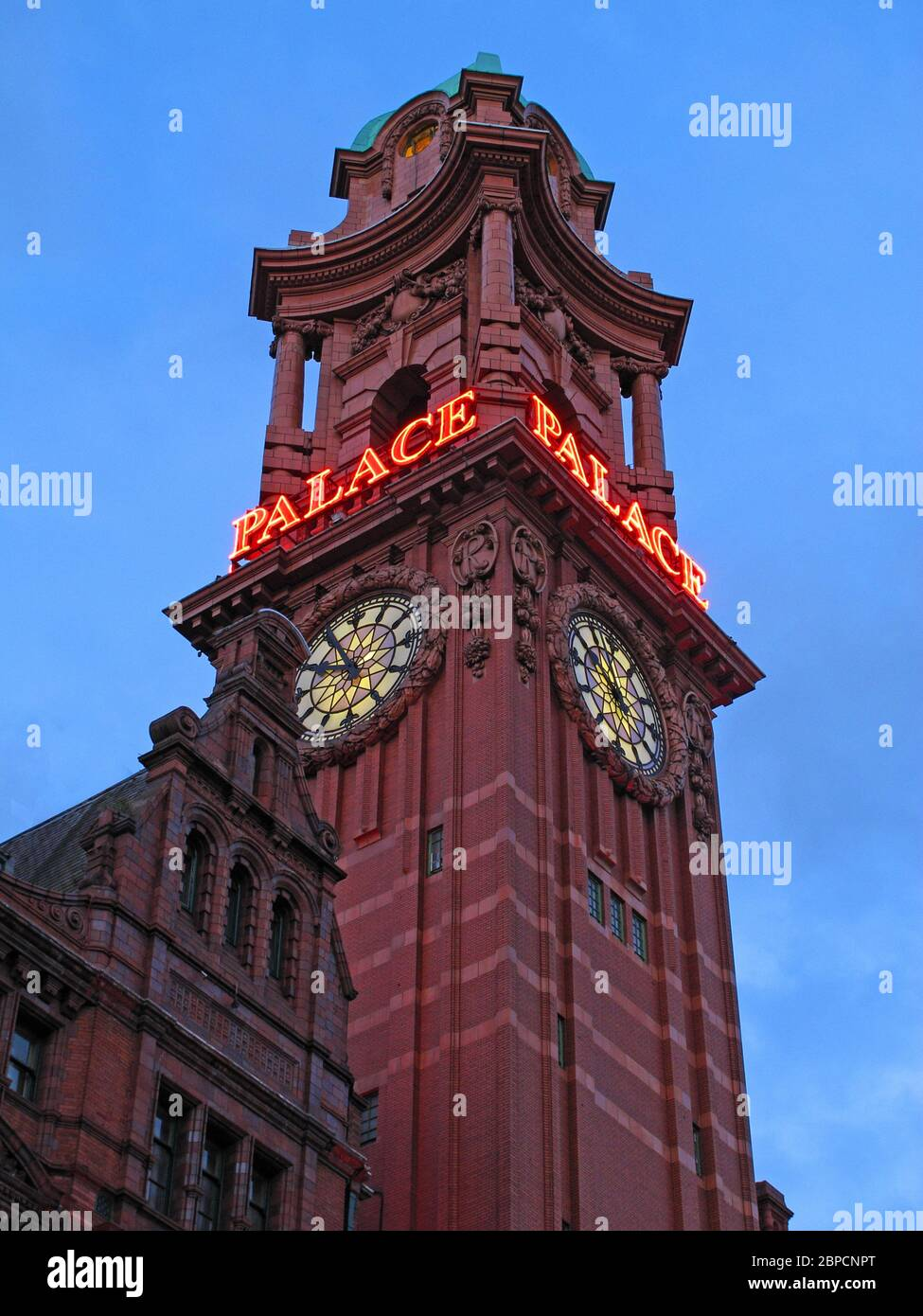 HotpixUK,@HotpixUK,GoTonySmith,iconic,Manchester,old,Victorian,Insurance,company,building,neon,sign,clocktower,Clock tower,history,historic,greater Manchester,North West,The Palace Hotel,ex-Refuge Insurance building,Oxford Road,Lancashire,England,UK,red brick,M60