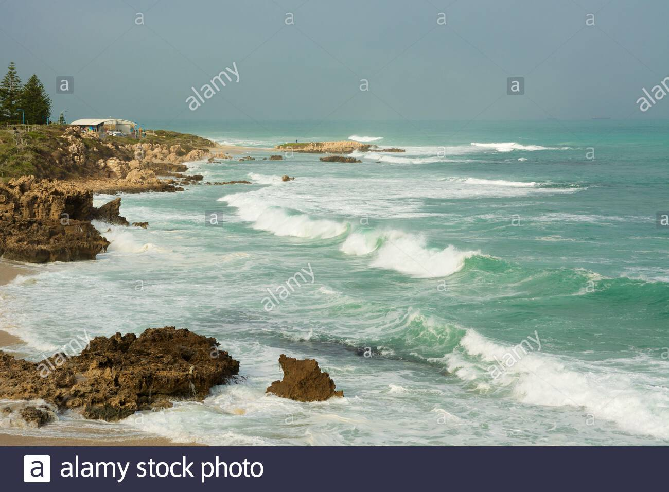a-view-from-bennion-beach-looking-towards-trigg-point-in-perth-western-australia-the-seas-were-still-rough-following-some-stormy-weather-2BY6GJB.jpg