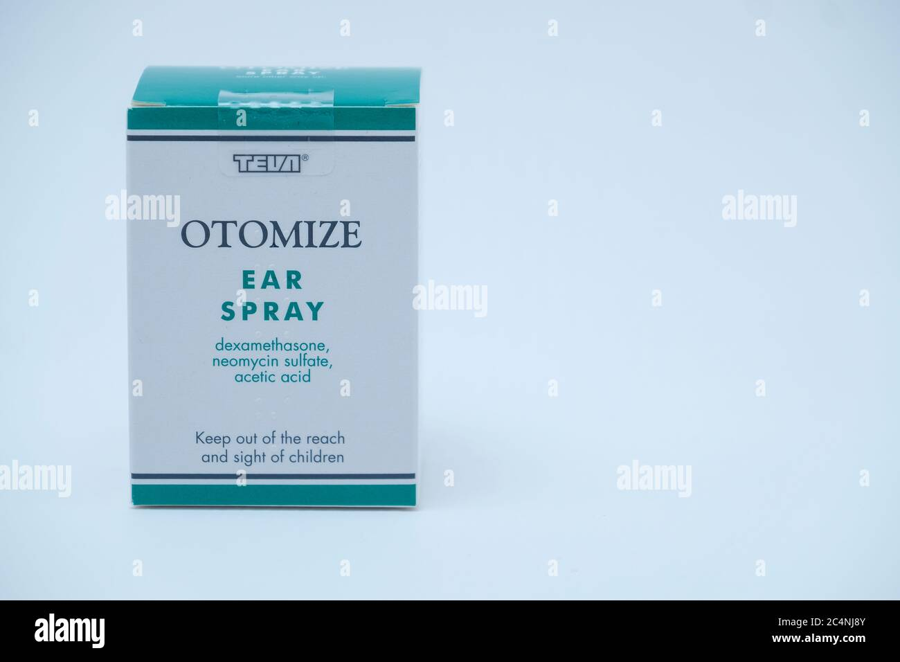 Otomize ear spray on a white background. Stock Photo