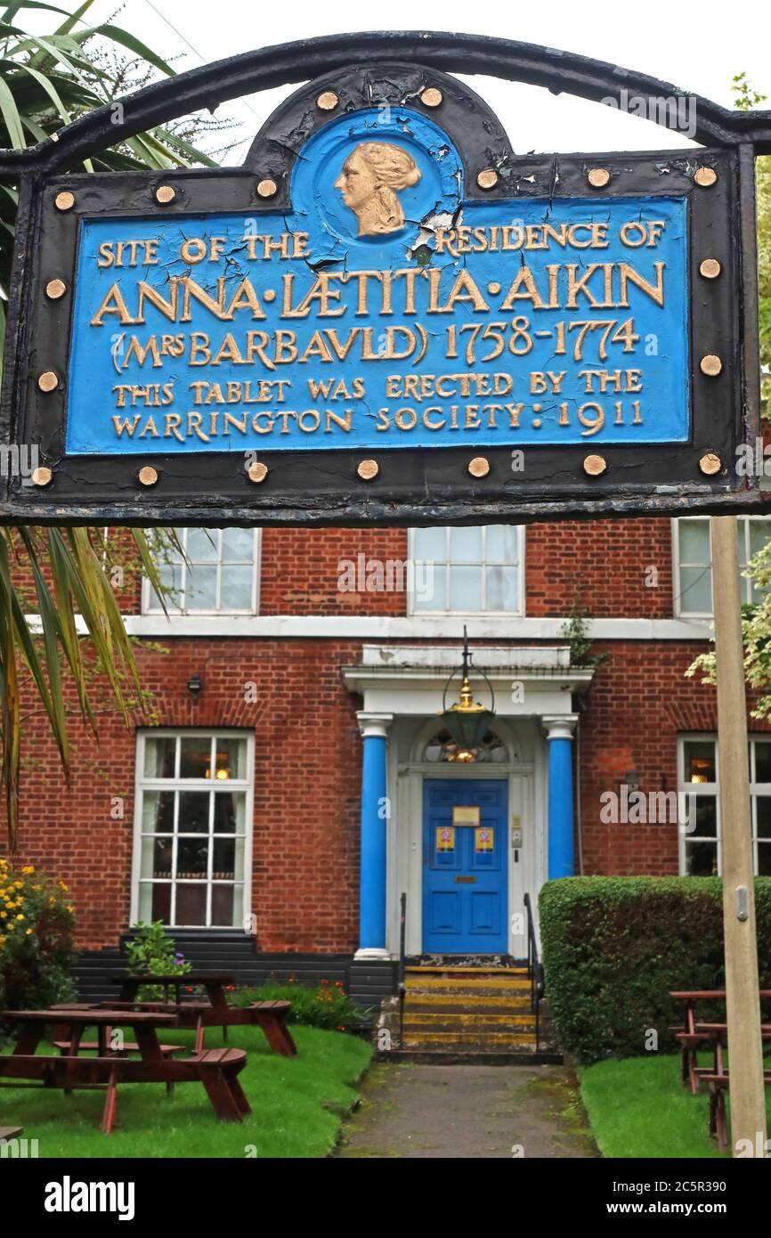GoTonySmith,HotpixUK,@HotpixUK,Cheshire,England,UK,tablet erected by the Warrington Society,town centre,blue,gold,black,Site of the residence,Anna Laetitla Aikin,Warrington Academy,Anna Laetitia Barbauld,WA1,memorial,plaque