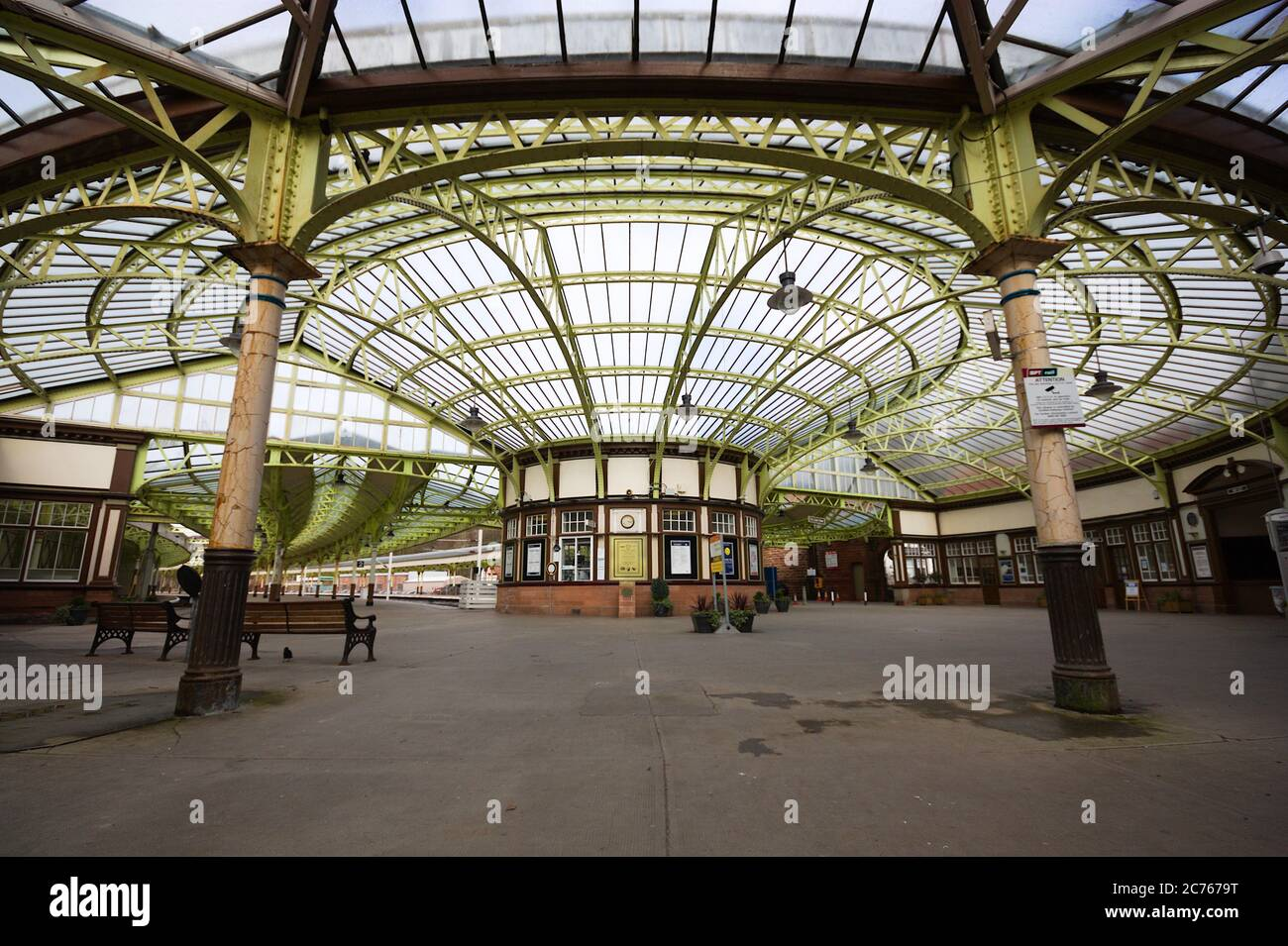 "Wemyss Bay railway Station showing the ornate design of the station canopy as it was in 2010. Wemyss is pronounced like ""whims"". Scotland, UK Stock Photo"