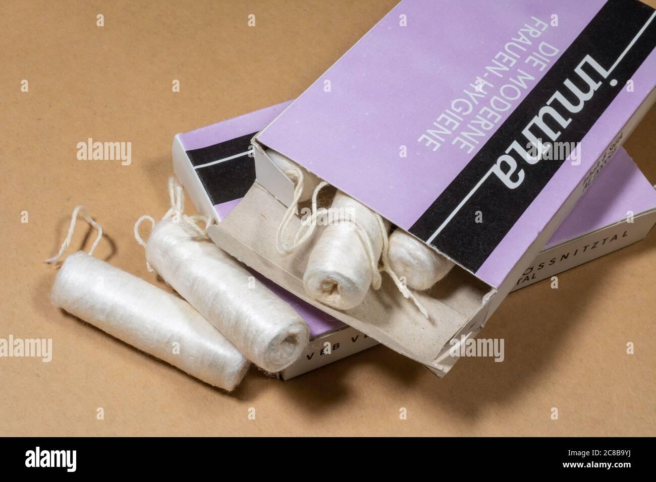 Old vintage East-German tampons for ladies in original package Stock Photo