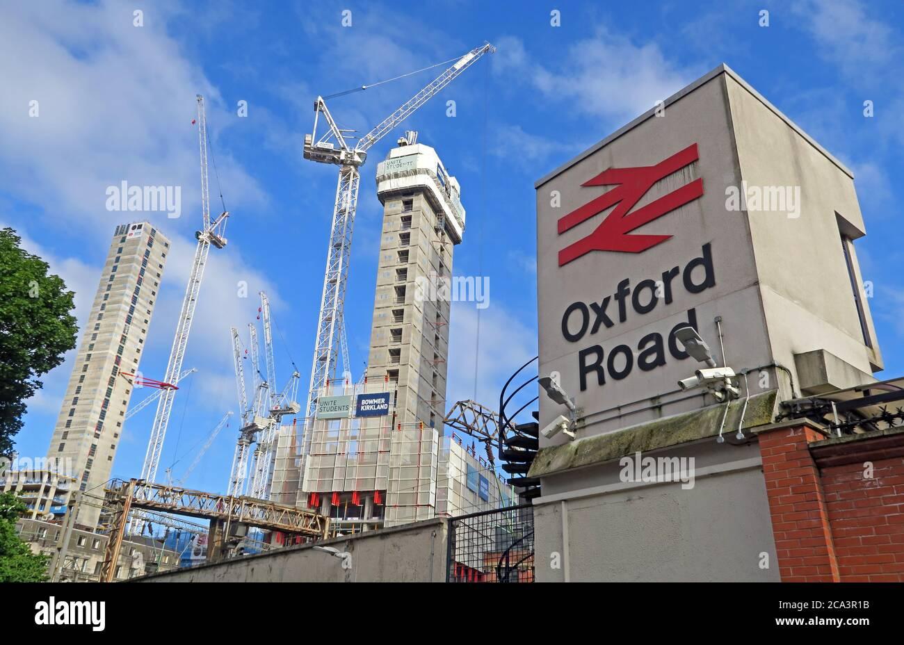 @Hotpixuk,Hotpixuk,GoTonySmith,M1,England,UK,M1 6FU,transport,rail,flats,block,station,Construction of new flats behind,Construction,building,of,new flats,behind,near,MCO,railtrack,Network rail,BR sign,BR,sign,crane,building site,site,Unite Students,Bowmer Kirkland,builder,builders